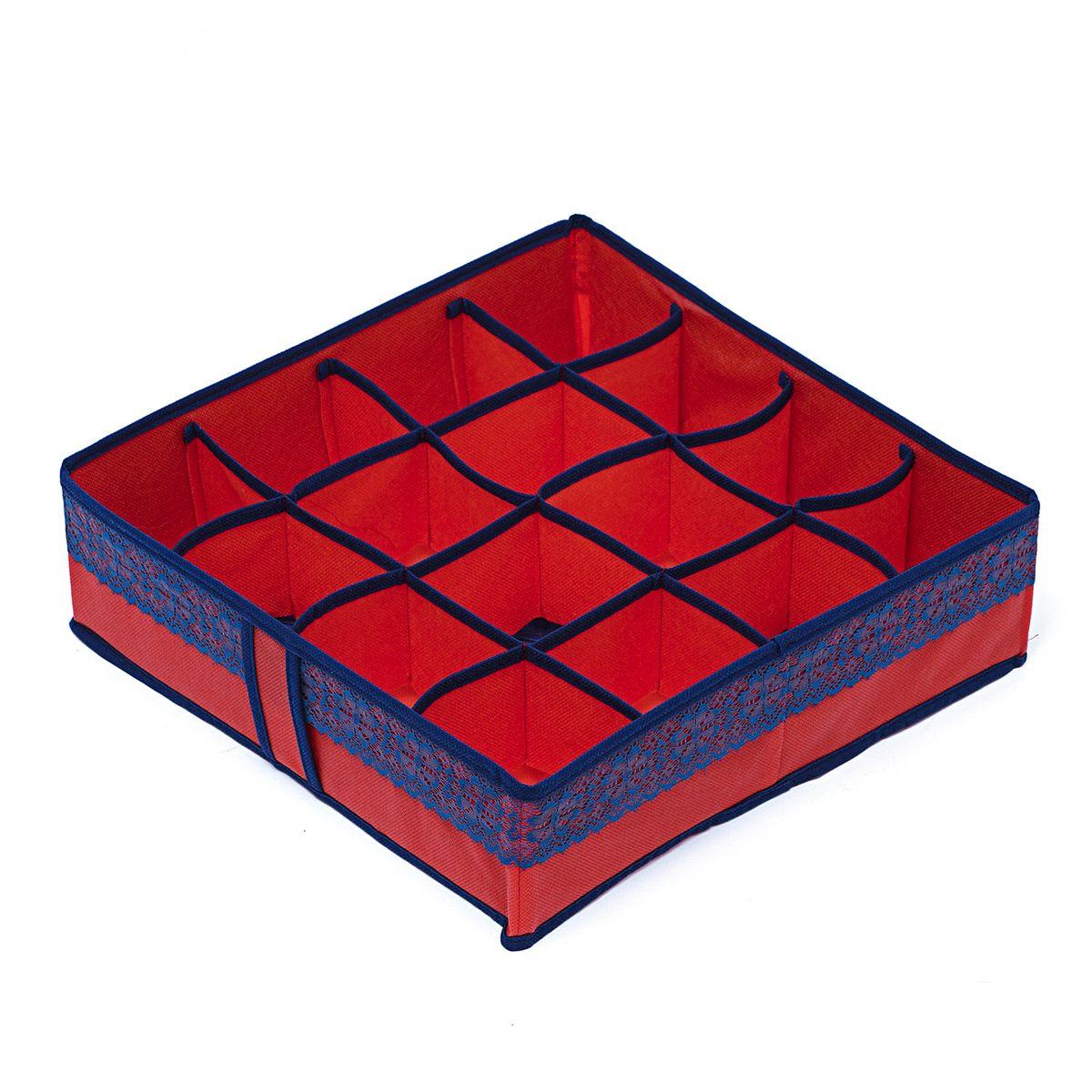 Органайзер для хранения вещей Homsu Rosso, 16 ячеек, 35 x 35 x 10 смHOM-314Компактный органайзер Homsu Rosso изготовлен из высококачественного полиэстера, который обеспечивает естественную вентиляцию. Материал позволяет воздуху свободно проникать внутрь, но не пропускает пыль. Органайзер отлично держит форму, благодаря вставкам из плотного картона. Изделие имеет 16 квадратных секций для хранения нижнего белья, колготок, носков и другой одежды. Такой органайзер позволит вам хранить вещи компактно и удобно, а оригинальный дизайн сделает вашу гардеробную красивой и невероятно стильной.