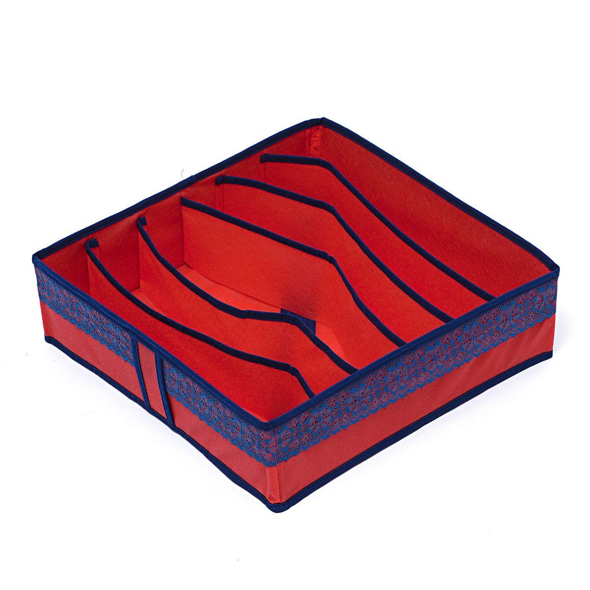 Органайзер для хранения вещей Homsu Rosso, 6 ячеек, 35 x 35 x 10 смHOM-315Компактный органайзер Homsu Rosso изготовлен из высококачественного полиэстера, который обеспечивает естественную вентиляцию. Материал позволяет воздуху свободно проникать внутрь, но не пропускает пыль. Органайзер отлично держит форму, благодаря вставкам из плотного картона. Изделие имеет 6 ячеек для хранения нижнего белья, колготок, носков и другой одежды. Такой органайзер позволит вам хранить вещи компактно и удобно, а оригинальный дизайн сделает вашу гардеробную красивой и невероятно стильной.