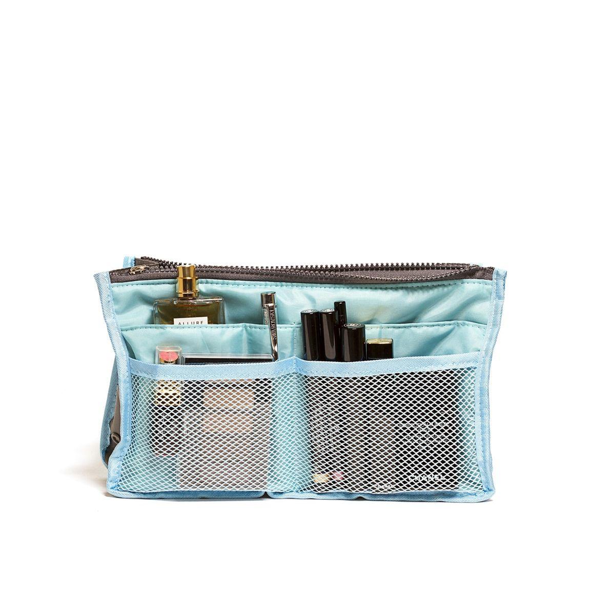 Органайзер для сумки Homsu, цвет: голубой, 30 x 8,5 x 18,5 смHOM-344Органайзер для сумки Homsu выполнен из полиэстера и текстиля. Этот органайзер для сумки имеет три вместительных отделениях для вещей, четыре кармашка по бокам и шесть кармашков в виде сетки. Такой органайзер обеспечит полный порядок в вашей сумке. Данный аксессуар обладает быстрой регулировкой толщины с помощью кнопок. Органайзер оснащен двумя крепкими ручками, что позволяет применять его и вне сумки.