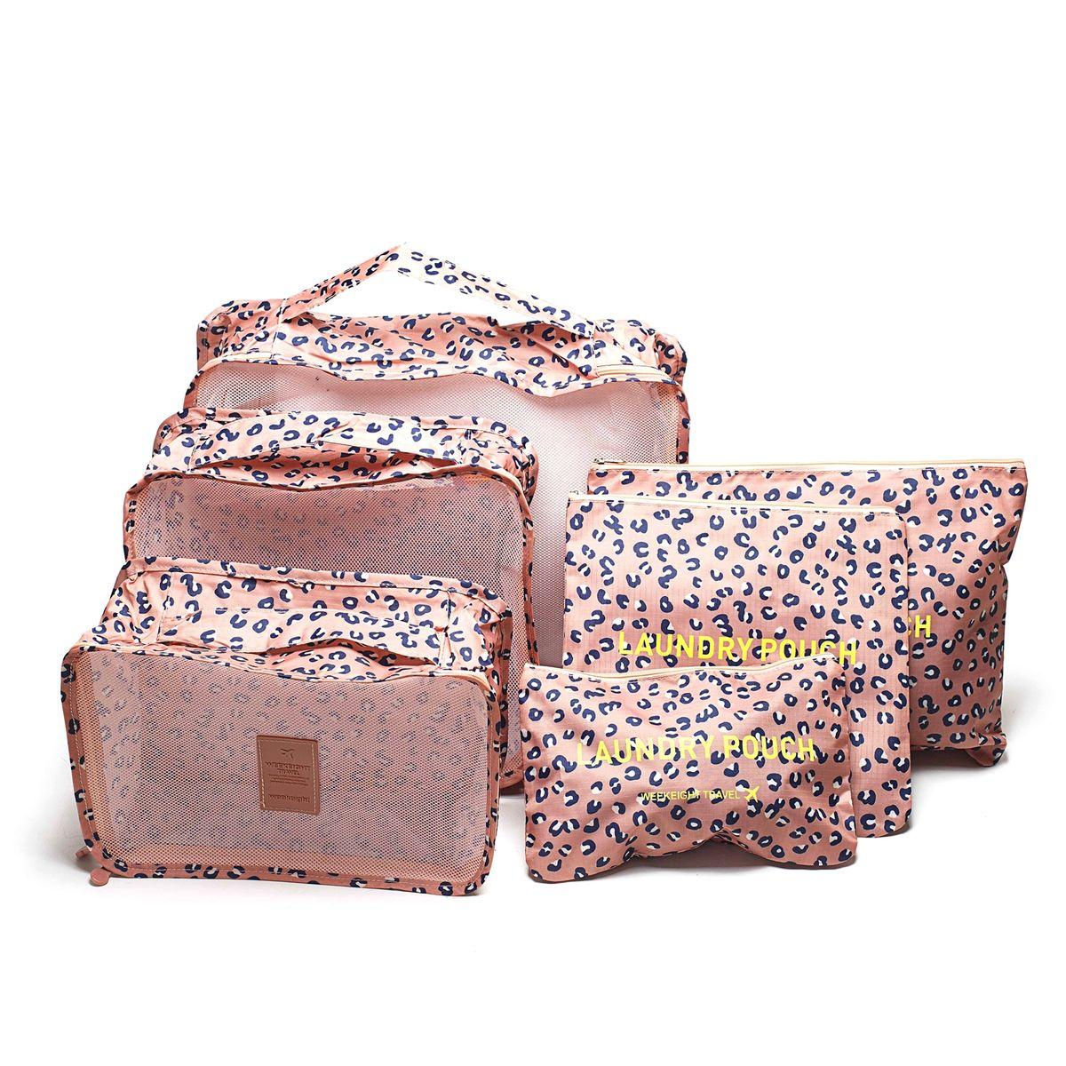 Набор органайзеров для багажа Homsu Леопард, 6 предметовHOM-349Набор органайзеров для багажа Homsu Леопард выполнен из полиэстера и оснащен молниями. В комплекте собраны органайзеры для бюстгальтеров, нижнего белья, носков, одежды, косметики. Вы сможете распределить все вещи, которые возьмете с собой таким образом, чтобы всегда иметь быстрый доступ к ним. Органайзеры надежно защитят от пыли, грязи, влажности или механических повреждений. Размеры органайзеров: 40 x 30 x 12 см; 30 x 28 x 13 см; 30 x 21 x 13 см; 35 x 27 см; 27 x 25 см; 26 x 16 см.