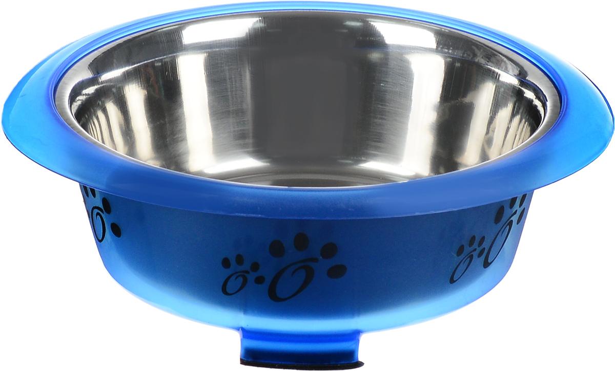 Миска для животных Каскад, цвет: синий, черный, стальной, 750 мл. 7680015376800153_синий, черный, стальнойМиска для животных Каскад, изготовленная из высококачественного пластика и нержавеющей стали, оснащена удобными ручками и предназначена для корма и воды. Такая миска порадует удобством использования как самих животных, так и их хозяев. Яркий дизайн придаст изделию индивидуальность и удовлетворит вкус самых взыскательных зоовладельцев. Миска, оснащенная тремя ножками с противоскользящими резиновыми вставками, устойчива на любой поверхности. Объем: 750 мл. Диаметр миски (по верхнему краю): 17 см. Диаметр основания: 14 см. Высота миски: 7,4 см.