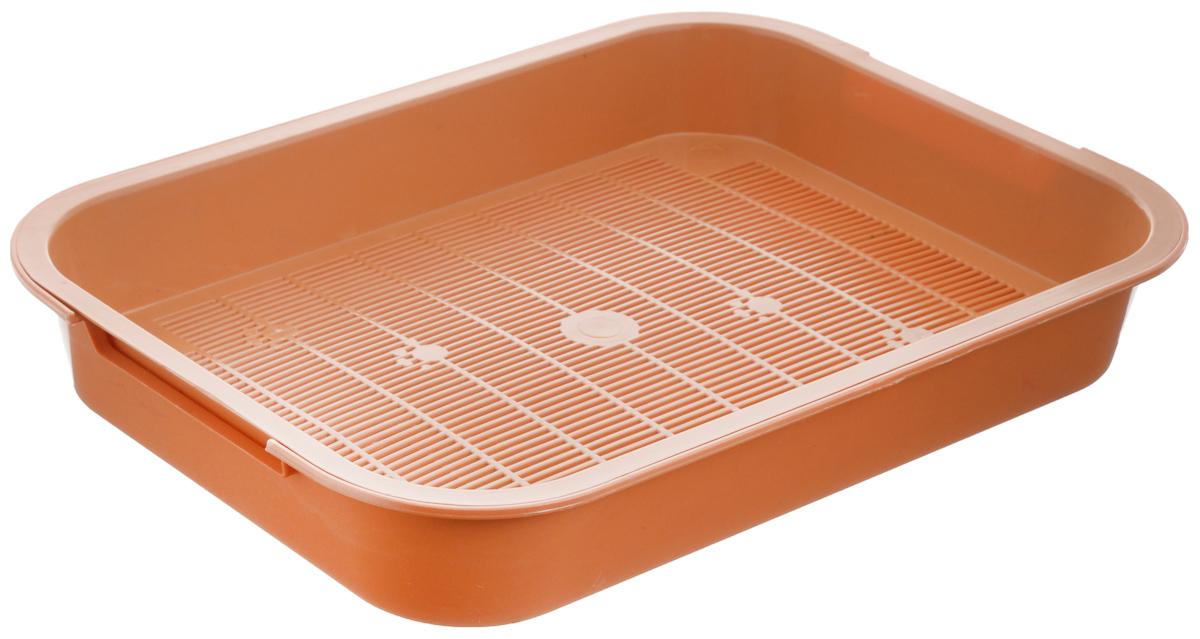 Туалет для кошек Каскад, с сеткой, цвет: оранжевый, 38 х 28 х 6 см9307034Туалет для кошек Каскад изготовлен из высококачественного цветного пластика со съемной сеткой. Туалет с сеткой может использоваться как с наполнителем, так и без него. Это самый экономичный и простой в употреблении предмет обихода для кошек и котов. Туалет легко моется водой.