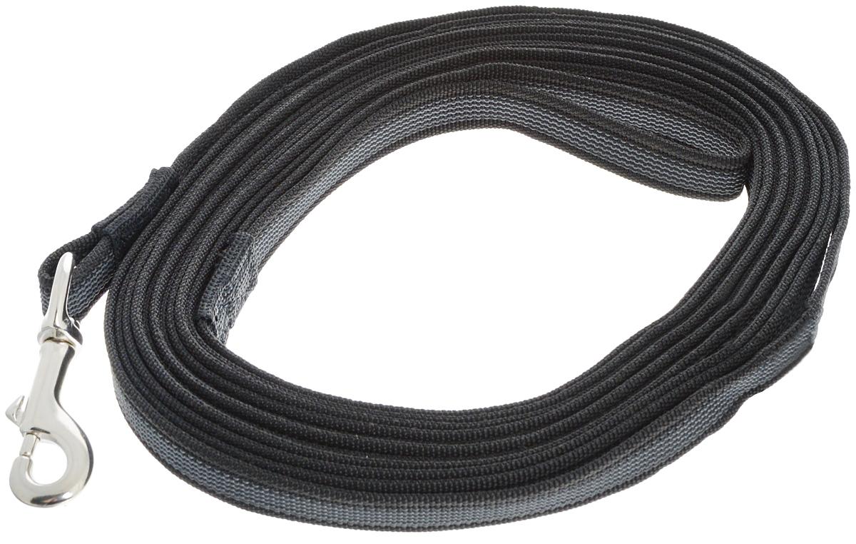 Поводок для собак Каскад Классика, двухсторонний, цвет: черный, серый, серебристый, ширина 2 см, длина 7 м19000814Двухсторонний поводок для собак Каскад Классика, изготовленный из нейлона и латексных нитей, снабжен латунным карабином. Изделие отличается не только исключительной надежностью и удобством, но и привлекательным дизайном. Поводок - необходимый аксессуар для собаки. Ведь в опасных ситуациях именно он способен спасти жизнь вашему любимому питомцу. Иногда нужно ограничивать свободу своего четвероногого друга, чтобы защитить его или себя от неприятностей на прогулке. Длина поводка: 7 м. Ширина поводка: 2 см.