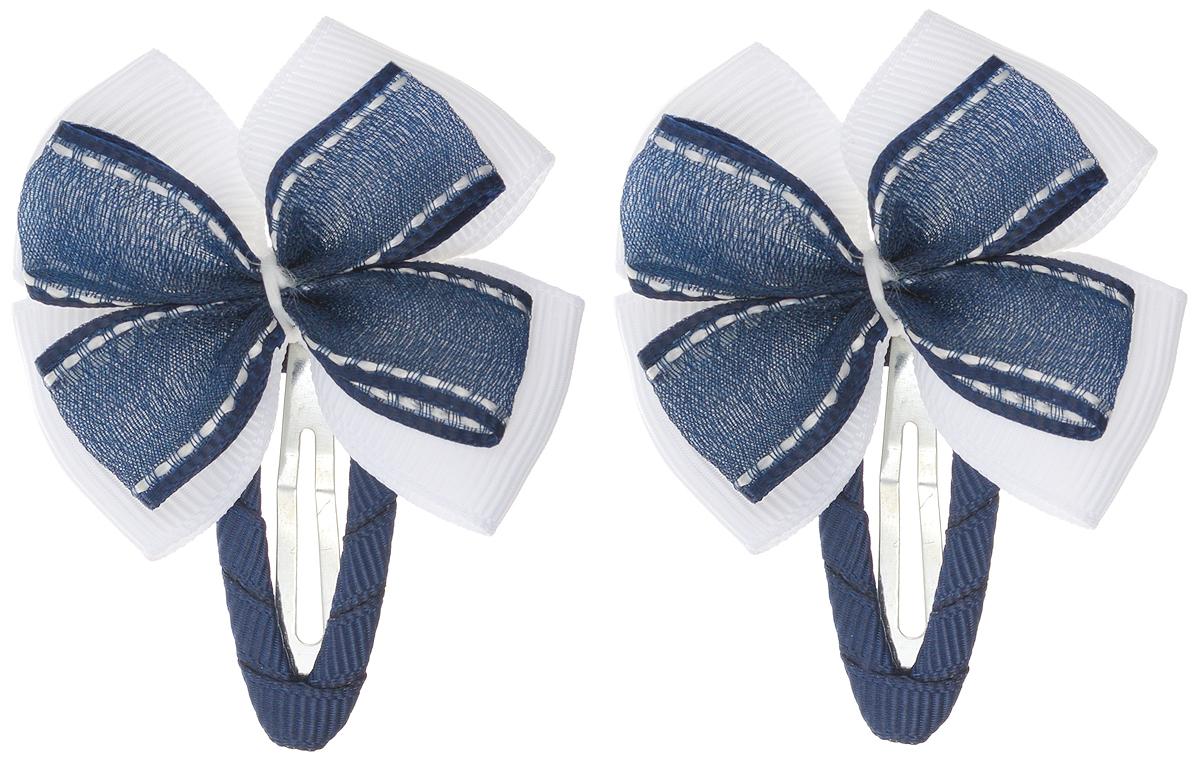 Babys Joy Заколка для волос цвет синий белый 2 шт AL 995AL 995Заколка для волос Babys Joy выполнена в виде бантика из текстильного материала, основание заколки металлическое. Заколка для волос подчеркнет красоту прически вашей маленькой модницы. В набор входят две заколки.