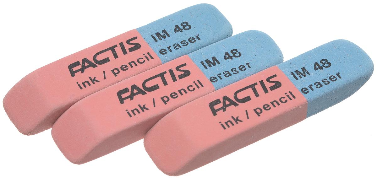Factis Набор ластиков для грифеля и чернил 3 штEIM48/3Ластики для грифеля и чернил Factis идеально подходят для применения как в школе, так и в офисе. Ластики обеспечивают высокое качество коррекции, не повреждают поверхность бумаги, даже при сильном трении, не оставляют следов. Абсолютно безопасны, не токсичны и экологичны. В упаковке 3 ластика.