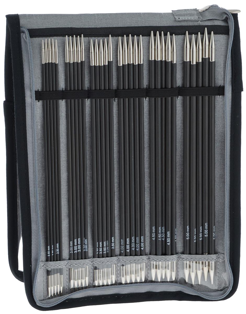 Набор чулочных спиц KnitPro Karbonez, 2,5-5,0 мм, 6 видов41615Набор KnitPro Karbonez состоит из 6 комплектов чулочных спиц разного диаметра и оригинального чехла для их хранения. Спицы прочные, легкие, гладкие, удобные в использовании. Спицы без ограничителей предназначены для вязания шапочек, варежек и носков. Вы сможете вязать для себя и делать подарки друзьям. Рукоделие всегда считалось изысканным, благородным делом. Работа, сделанная своими руками, долго будет радовать вас и ваших близких. Диаметр спиц: 2,5 мм; 3 мм; 3,5 мм; 4 мм; 4,5 мм; 5 мм. Длина спиц: 20 см.