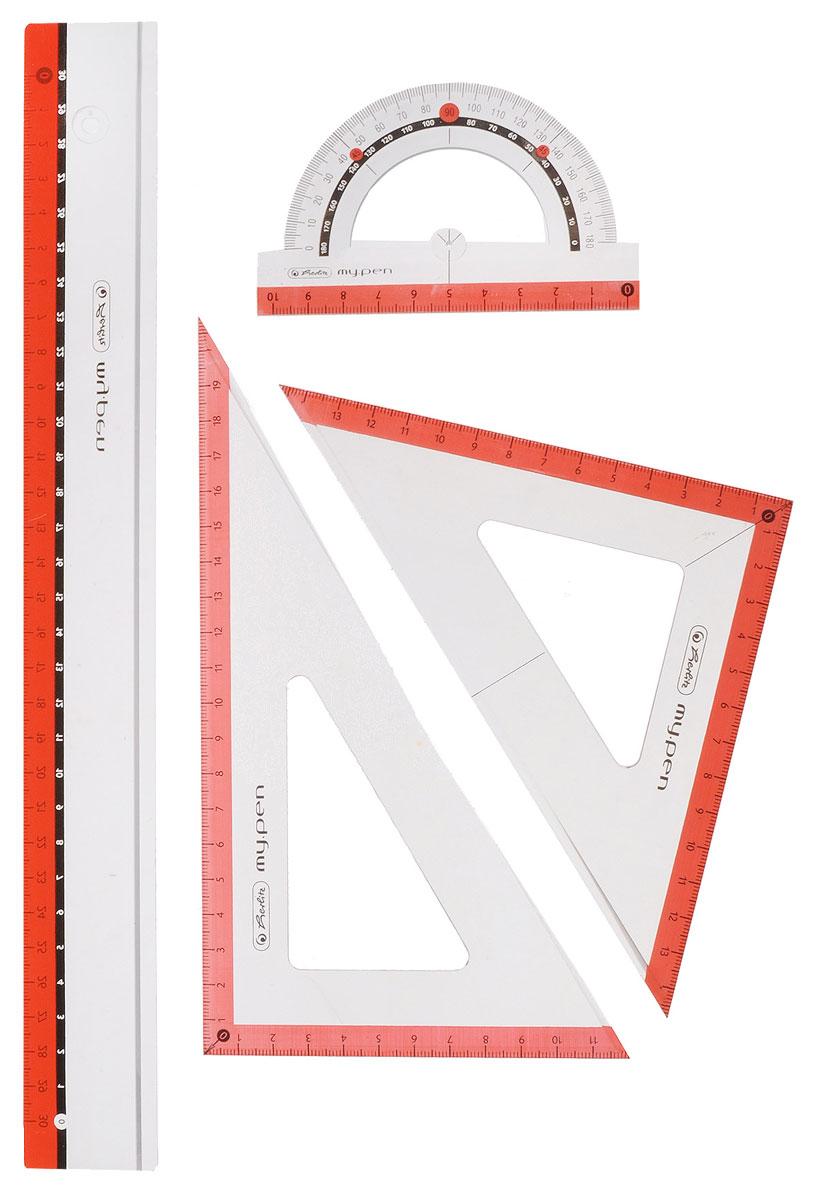 Herlitz Геометрический набор цвет коралловый 4 предмета11368222Геометрический набор Herlitz выполнен из прочного пластика кораллового цвета. Набор включает в себя все, что необходимо школьнику: линейку 30 см, транспортир на 180 градусов, два треугольника (19 см, 13 см). Каждый чертежный инструмент имеет свои функциональные особенности, что делает работу с ними особенно удобной и легкой. Набор подходит для правшей и левшей.