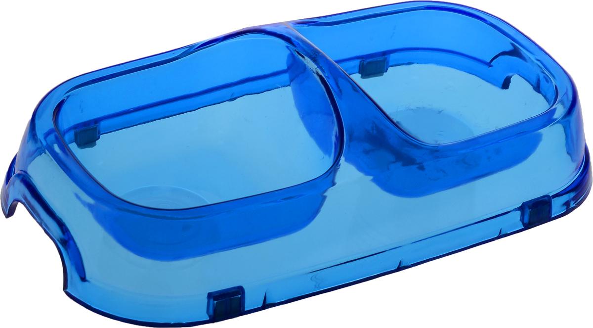 Миска для животных Каскад, двойная, цвет: прозрачный, синий, 150 мл8301714_синийДвойная миска Каскад - это функциональный аксессуар для собак и кошек. Изделие, выполненное из высококачественного цветного пластика, оснащено противоскользящими вставками. В миску можно положить два разных блюда - в каждое отделение. Яркий дизайн придаст изделию индивидуальность и удовлетворит вкус самых взыскательных зоовладельцев. Объем отделения: 150 мл. Размер отделения (по верхнему краю): 9,5 х 9,5 см. Высота отделения: 4 см. Общий размер миски: 22 х 12 х 6 см.