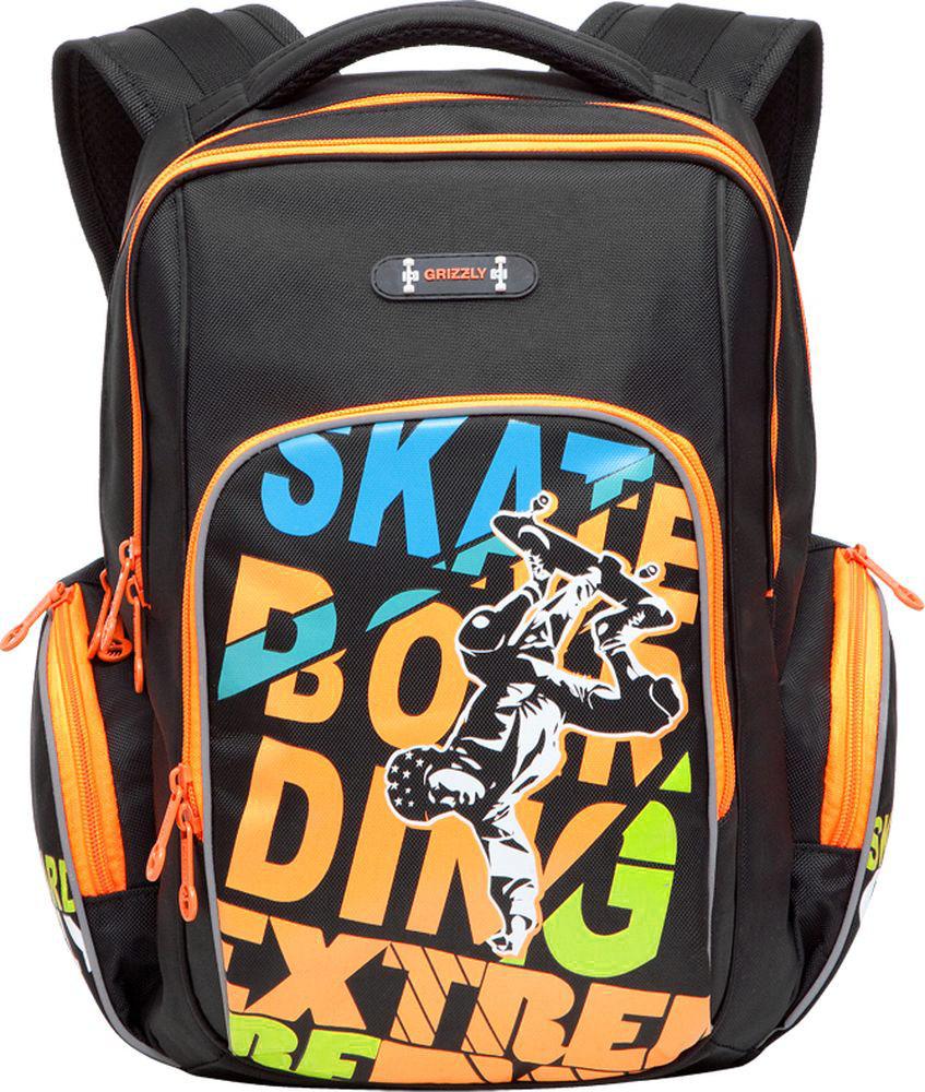 Grizzly Рюкзак детский цвет черный оранжевый RB-630-2/2RB-630-2/2Детский рюкзак Grizzly Racing выполнен из прочных и высококачественных материалов черного и оранжевого цветов, а также оформлен оригинальным изображением. Рюкзак имеет два основных отделения на застежках-молниях с двумя бегунками. Отделения никаких карманов не содержат. На лицевой стороне рюкзака располагается накладной карман на молнии, внутри которого имеется открытый карман-сетка. По бокам рюкзака находятся два кармана на застежке-молнии. Рюкзак оснащен петлей для подвешивания. Широкие регулируемые лямки и сетчатые мягкие вставки на спинке рюкзака предохранят мышцы спины ребенка от перенапряжения при длительном ношении. Светоотражающие вставки повышают безопасность ребенка на дороге. Этот рюкзак можно использовать для повседневных прогулок, учебы, отдыха и спорта, а также как элемент вашего имиджа. Рекомендуемый возраст: от 11 лет.