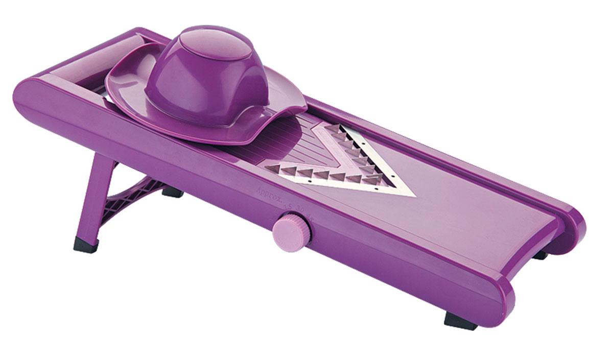 Универсальная терка Augustin Welz, цвет: фиолетовыйAW-2105Терка имеет 3 сменные насадки для нарезки 2-х размеров соломки и колечками, регулятор толщины реза и плододержатель. Основное литое лезвие терки можно наточить по своему вкусу.