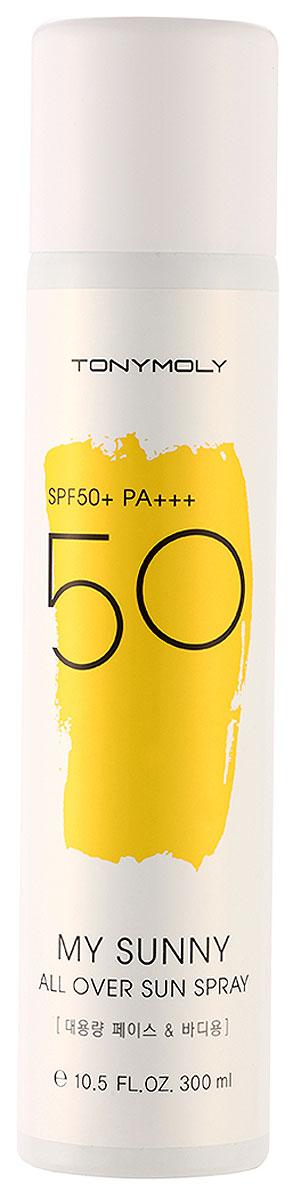 Tonymoly Солнцезащитный спрей для лица и тела My Sunny All Over Sun Spray SPF50+ Pa+++, 300 млSS06007500Легкий солнцезащитный спрей обеспечивает превосходную защиту от UVA и UVB-лучей. Обладает высокой степенью защиты SF50+. Помогает предотвратить ожоги и преждевременное старение кожи. Спрей легко наносится и быстро впитывается, не оставляет следов и чувства липкости.