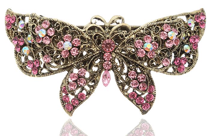 Заколка для волос в византийском стиле от D.Mari. Кристаллы Aurora Borealis, кристаллы розового цвета, бижутерный сплав