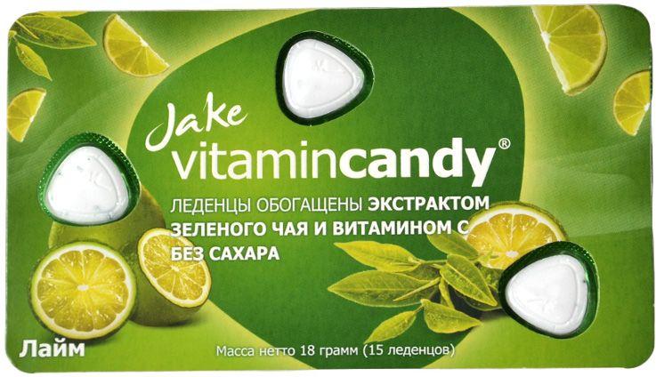 Jake Vitamin C леденцы со вкусом зеленого чая и лайма, 18 г