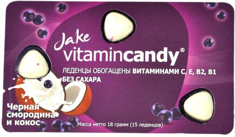 Jake Vitamin В1 ,В2 ,С ,Е леденцы со вкусом кокоса и черной смородины, 18 г