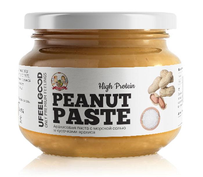 Арахисовая паста UFEELGOOD RAW с морской солью и кусочками арахиса является вкусным и натуральным источником полезного для здоровья белка, углеводов и жиров. Данный продукт на 100% изготавливается из арахиса и не имеет никаких добавок или изменений в составе! Арахасовая паста способствует: - понижению уровня холестерина в крови; - понижению риска сердечно-сосудистых заболеваний; - обладает противоспалительным действием