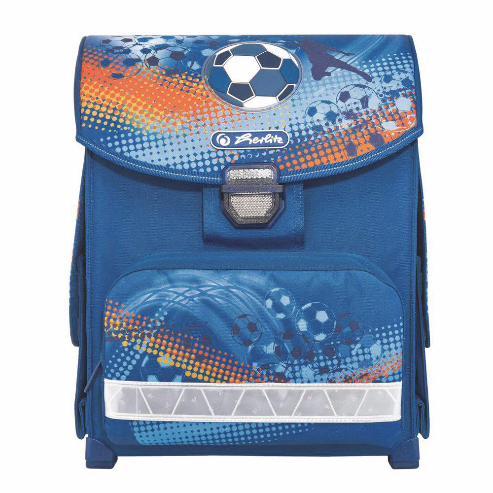 Herlitz Ранец школьный Soccer11438371Школьный ранец Herlitz Soccer обязательно привлечет внимание вашего школьника. Выполнен ранец из материалов высшего качества с водоотталкивающей пропиткой. Содержит одно вместительное отделение, закрывающееся клапаном на замок-защелку. Внутри отделения имеется мягкая перегородка для тетрадей или учебников. Клапан полностью откидывается, что существенно облегчает пользование ранцем. На внутренней части клапана находится прозрачный пластиковый кармашек, в который можно поместить расписание занятий. Ранец имеет два боковых кармана, закрывающиеся клапанами на липучке. Лицевая сторона ранца оснащена накладным карманом на застежке-молнии. Конструкция спинки дополнена эргономичными подушечками, противоскользящей сеточкой и системой вентиляции для предотвращения запотевания спины ребенка. Мягкие широкие лямки позволяют легко и быстро отрегулировать изделие в соответствии с ростом. Ранец оснащен эргономичной ручкой для удобной переноски в руке. Пластиковые ножки...