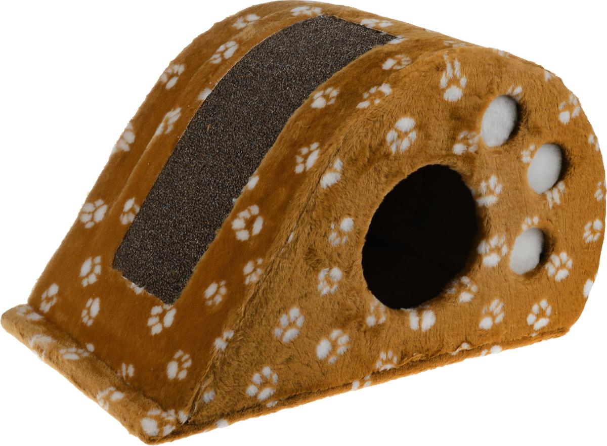 Игровой комплекс для кошек Меридиан Капля, с домиком и когтеточкой, цвет: белый, коричневый, светло-коричневый, 62 х 34 х 35 смД315 Ла_белый, коричневый, светло-коричневыйИгровой комплекс для кошек Меридиан Капля выполнен из ДВП и ДСП и обтянут искусственным мехом. Сверху расположена вставка из ковролина, которая используется в качестве когтеточки. Изделие имеет оригинальный дизайн и выглядит как капля. Оригинальный домик-когтеточка - это отличное место, чтобы спрятаться. Также там можно хранить свои охотничьи трофеи.