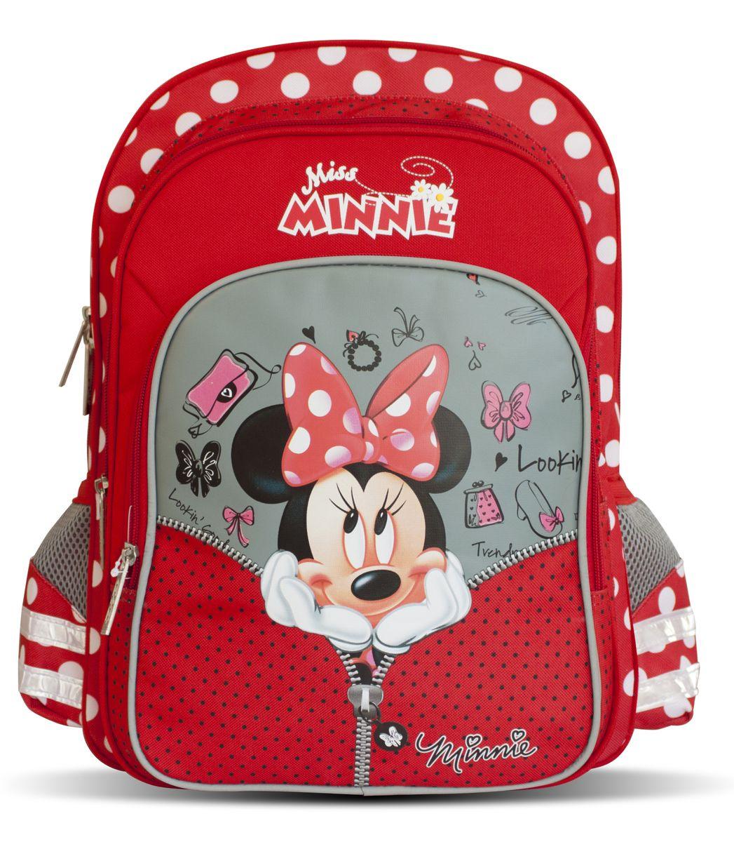 Disney Рюкзак детский Miss Minnie29134Детский рюкзак Disney Miss Minnie идеален для начальной школы. Рюкзак имеет одно вместительное отделение, закрывающееся на застежку-молнию. Внутри отделения находится мягкая перегородка для учебников или тетрадей, которая фиксируется хлястиком на липучке. Дно рюкзака можно сделать более устойчивым, разложив специальную панель. На лицевой стороне размещается большой карман на молнии, внутри которого находятся четыре небольших открытых кармашка. За этим карманом располагается еще один карман на молнии, подходящий для тетрадей формата А4. Два боковых кармашка на резинках пригодятся для мелких предметов. Удобная ортопедическая спинка, созданная по специальной технологии из дышащего плотного и мягкого поролона, равномерно распределяет нагрузку на позвоночник. Мягкие анатомические регулируемые лямки оберегают плечи ребенка от натирания. Светоотражающие элементы, расположенные на лямках и карманах, повышают безопасность ребенка на дороге в темное время суток. Рюкзак имеет...