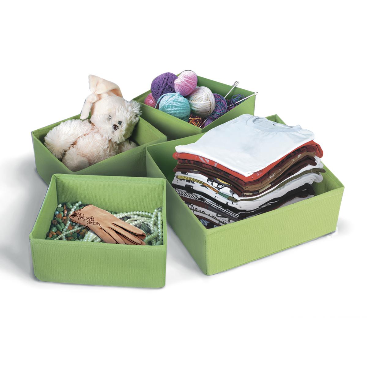 Набор коробок для хранения вещей Miolla, цвет: зеленый, 4 предметаCHL-8-2Набор коробок Miolla предназначен для хранения вещей. Он изготовлен из нетканого материала высокого качества. Коробки позволят вам хранить вещи компактно и с удобством. Комплектация набора 4 шт.