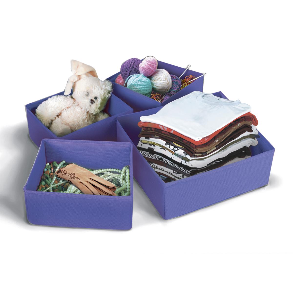 Набор коробок для хранения вещей Miolla, цвет: сиреневый, 4 предметаCHL-8-3Набор коробок Miolla предназначен для хранения вещей. Он изготовлен из нетканого материала высокого качества. Коробки позволят вам хранить вещи компактно и с удобством. Комплектация набора 4 шт.