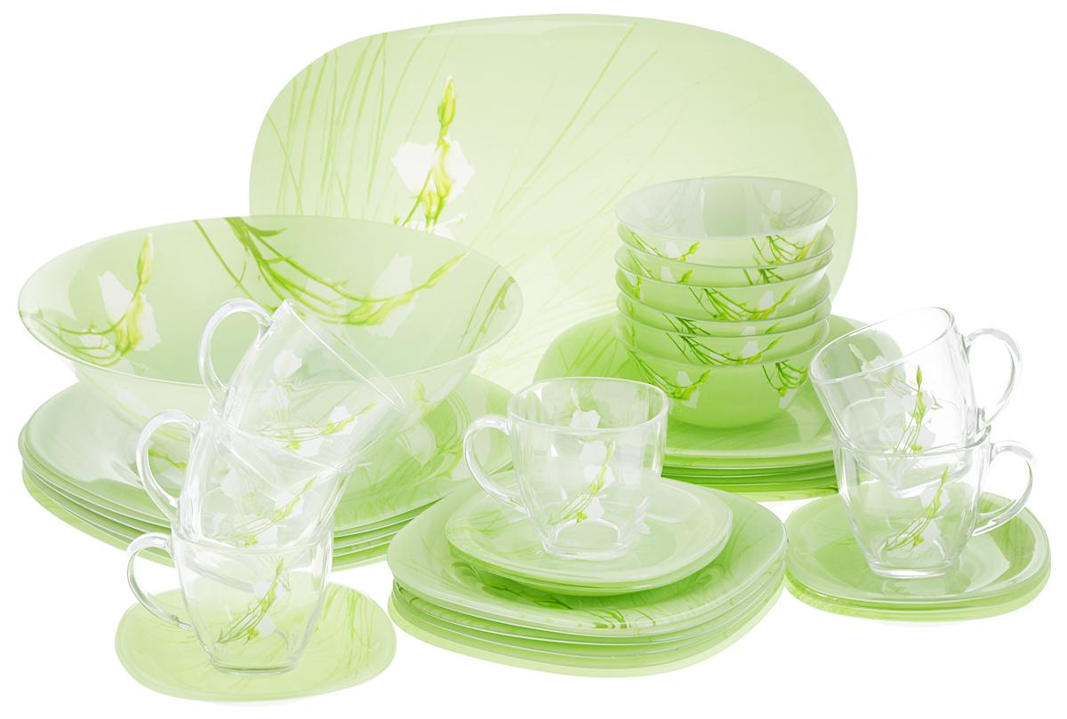 Набор столовой посуды Luminarc Sofiane Green, 38 предметовJ7881Набор Luminarc Sofiane Green состоит из 6 суповых тарелок, 6 обеденных тарелок, 6 десертных тарелок, блюда, большого салатника, 6 малых салатников, 6 чашек, 6 блюдец. Изделия выполнены из ударопрочного стекла, имеют классический дизайн с изящным цветочным рисунком и красивую квадратную форму с закругленными краями. Посуда отличается прочностью, гигиеничностью и долгим сроком службы, она устойчива к появлению царапин и резким перепадам температур. Такой набор прекрасно подойдет как для повседневного использования, так и для праздников или особенных случаев. Набор столовой посуды Luminarc Sofiane Green - это не только яркий и полезный подарок для родных и близких, это также великолепное дизайнерское решение для вашей кухни или столовой. Изделия можно мыть в посудомоечной машине и использовать в микроволновой печи. Размер суповой тарелки: 20,5 х 20,5 см. Высота суповой тарелки: 3,2 см. Размер обеденной тарелки: 25 х 25 см. ...