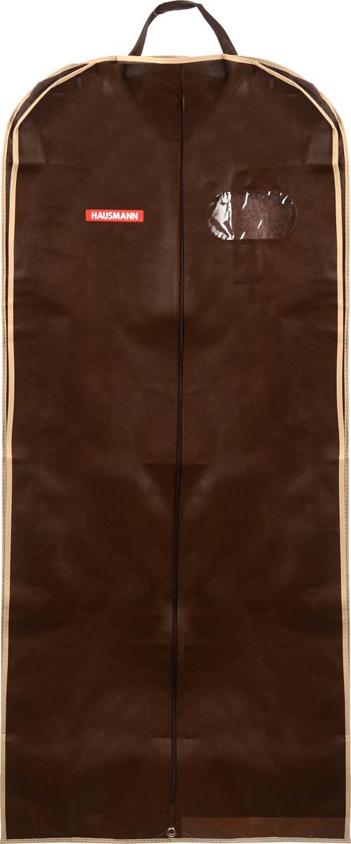Чехол для одежды Hausmann, подвесной, с прозрачной вставкой, цвет: коричневый, 60 х 140 х 10 смHM-701403AG_коричневыйПодвесной чехол для одежды Hausmann на застежке-молнии выполнен из высококачественного нетканого материала. Чехол снабжен прозрачной вставкой из ПВХ, что позволяет легко просматривать содержимое. Изделие подходит для длительного хранения вещей. Чехол обеспечит вашей одежде надежную защиту от влажности, повреждений и грязи при транспортировке, от запыления при хранении и проникновения моли. Чехол обладает водоотталкивающими свойствами, а также позволяет воздуху свободно поступать внутрь вещей, обеспечивая их кондиционирование. Это особенно важно при хранении кожаных и меховых изделий. Чехол для одежды Hausmann создаст уютную атмосферу в гардеробе. Лаконичный дизайн придется по вкусу ценительницам эстетичного хранения и сделают вашу гардеробную изысканной и невероятно стильной. Размер чехла (в собранном виде): 60 х 140 см.