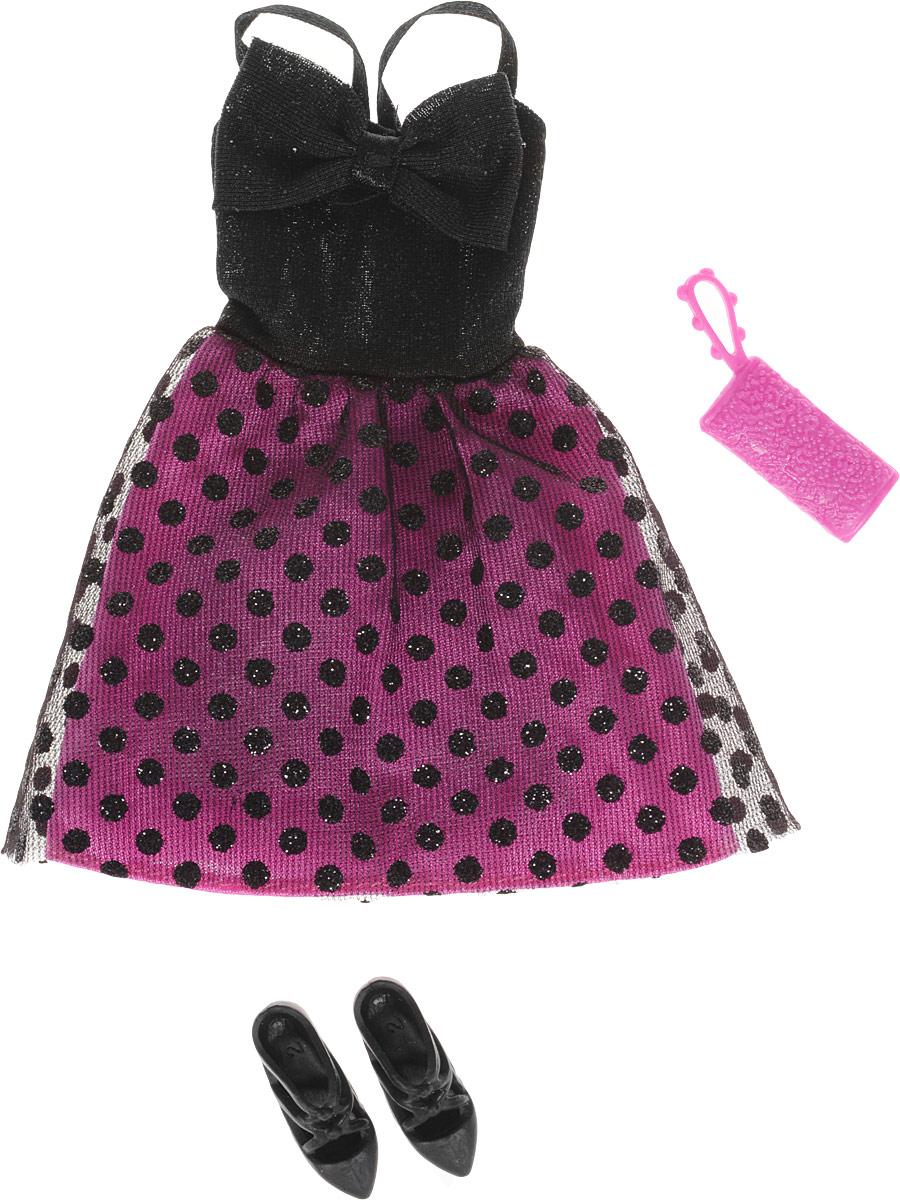 Barbie Одежда для кукол Платье цвет черный розовыйCFX92_DNV25Куклы очень любят менять наряды! Это прекрасное платье с блестками обязательно придется по душе красавице Барби. Оно выполнено из прочного текстильного материала. У платья двойная юбка - нижний слой розового цвета, верхний - прозрачно-черный. Верх платья дополнен тонкими бретелями. Платье застегивается сзади на липучку. Неотразимый образ дополнят оригинальные черные туфли-балетки и стильная розовая сумочка. В процессе игры любая девочка с удовольствием будет наряжать куклу в новую одежду. Если собрать всю коллекцию одежды для куклы Барби, то можно будет подобрать наряды для самых разных сюжетов! Одежда подходит для большинства кукол Барби. Куклы продаются отдельно.