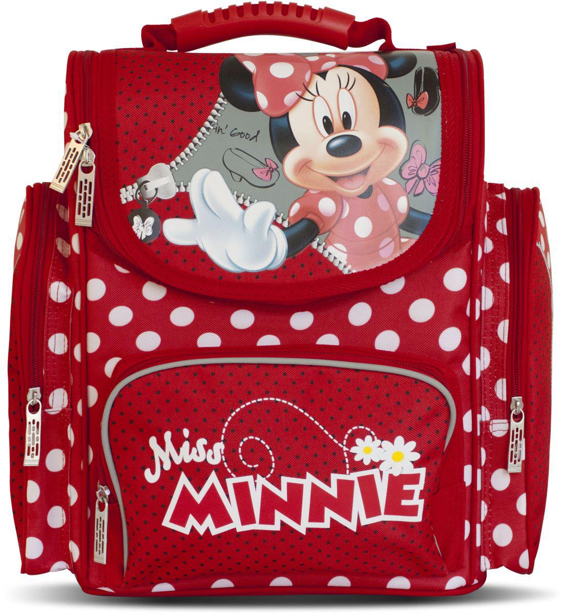 Disney Ранец школьный Miss Minnie29132Стильный школьный ранец Disney Miss Minnie обязательно привлечет внимание школьницы. Ранец имеет прочный каркас, поэтому вещи в нем не помнутся. Изделие имеет одно основное отделение, закрывающееся клапаном на застежку-молнию с двумя бегунками. Внутри находятся два мягких разделителя для тетрадей и учебников, фиксирующиеся на хлястик с липучкой. На внутренней части клапана имеется прозрачный пластиковый кармашек, в который можно поместить данные о владельце ранца. Дно изделия можно сделать жестким, разложив специальную панель с пластиковой вставкой, что повышает сохранность содержимого ранца и способствует правильному распределению нагрузки. На лицевой стороне находится карман на молнии. Ранец имеет два боковых накладных кармана, закрывающихся на застежки-молнии. Ортопедическая спинка, созданная по специальной технологии из дышащего материала, равномерно распределяет нагрузку на позвоночник. Мягкие широкие лямки анатомической формы повторяют естественный...