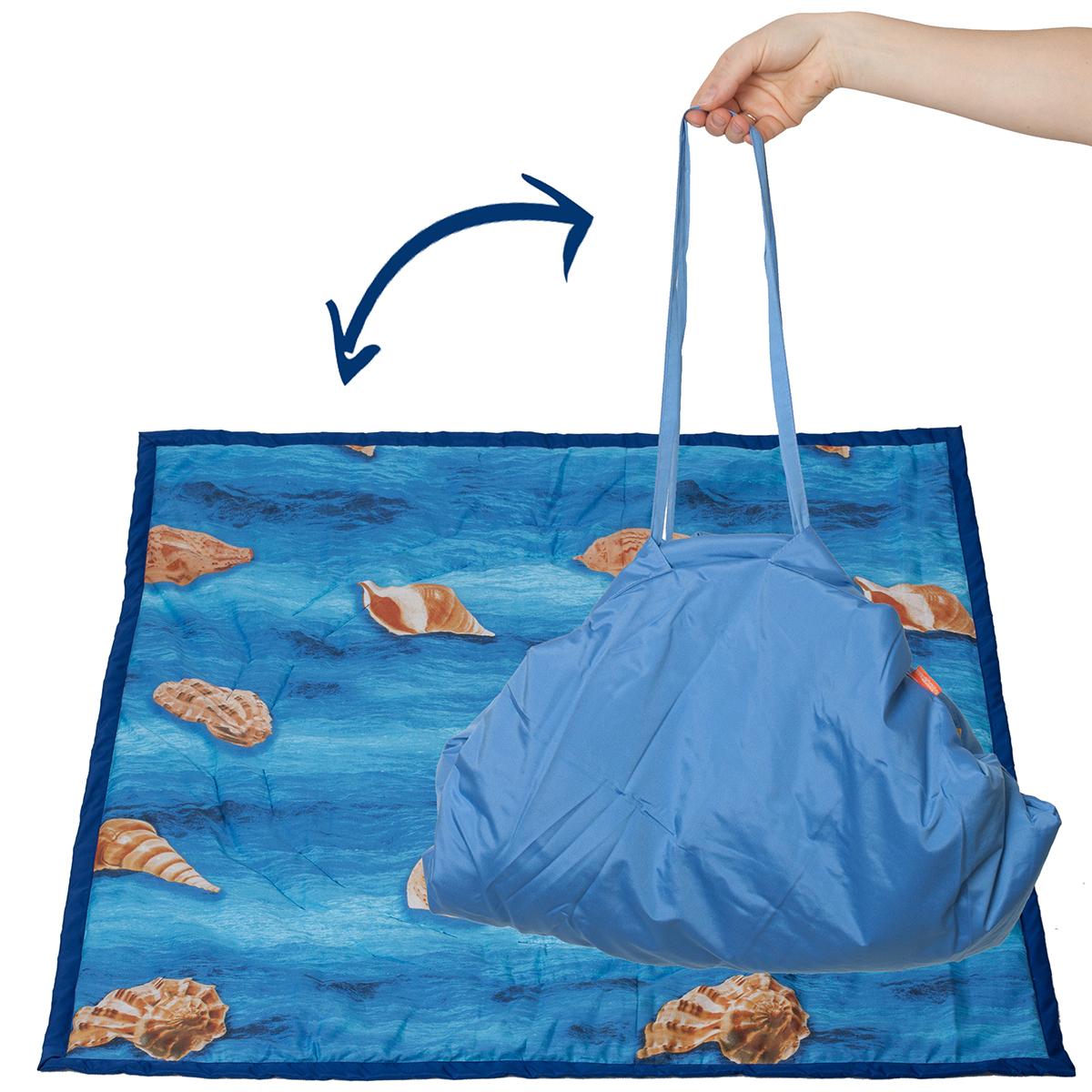 Чудо-Чадо Переносной коврик-сумка цвет синий ракушки ( KTR02-007 )
