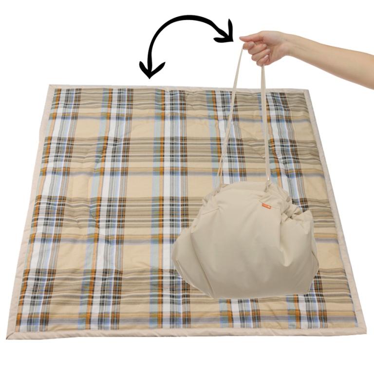 Чудо-Чадо Переносной коврик-сумка цвет бежевый клетка ( KTR02-009 )