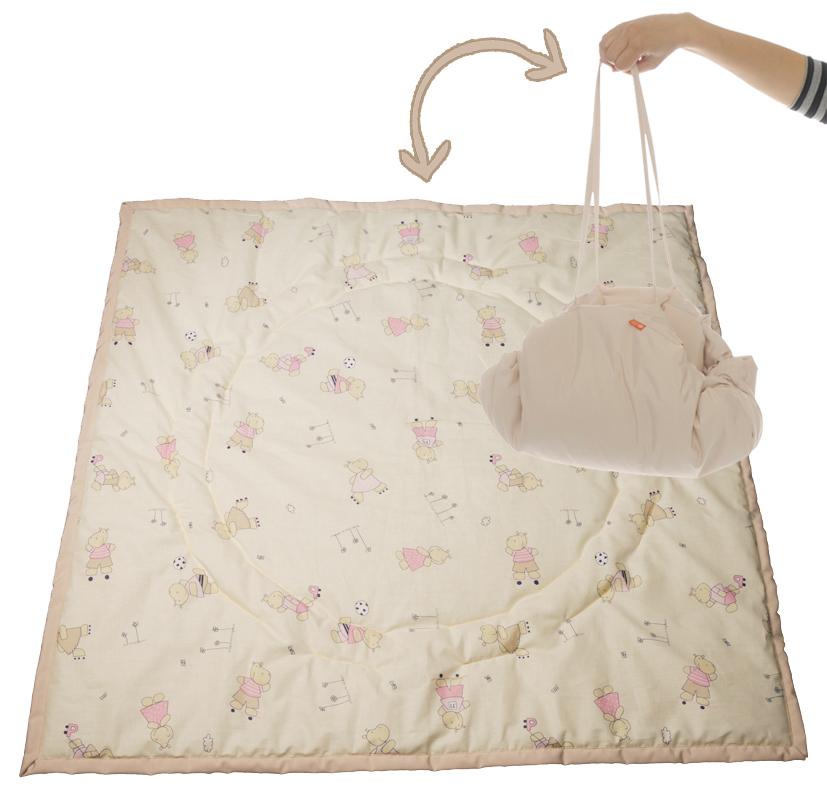 Чудо-Чадо Переносной коврик-сумка цвет бежевый бегемотики ( KTR02-010 )