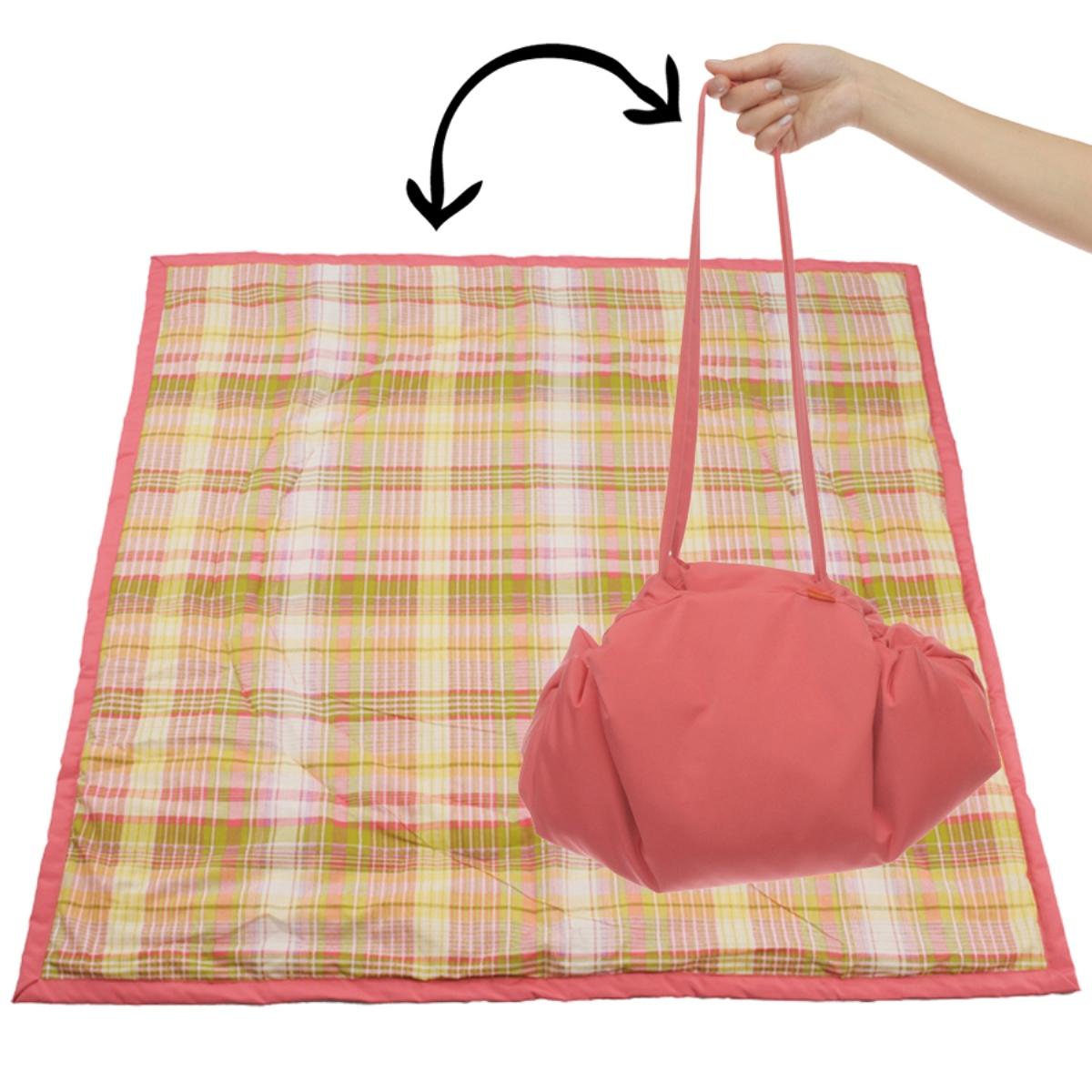 Чудо-Чадо Переносной коврик-сумка цвет коралловый клетка ( KTR02-012 )