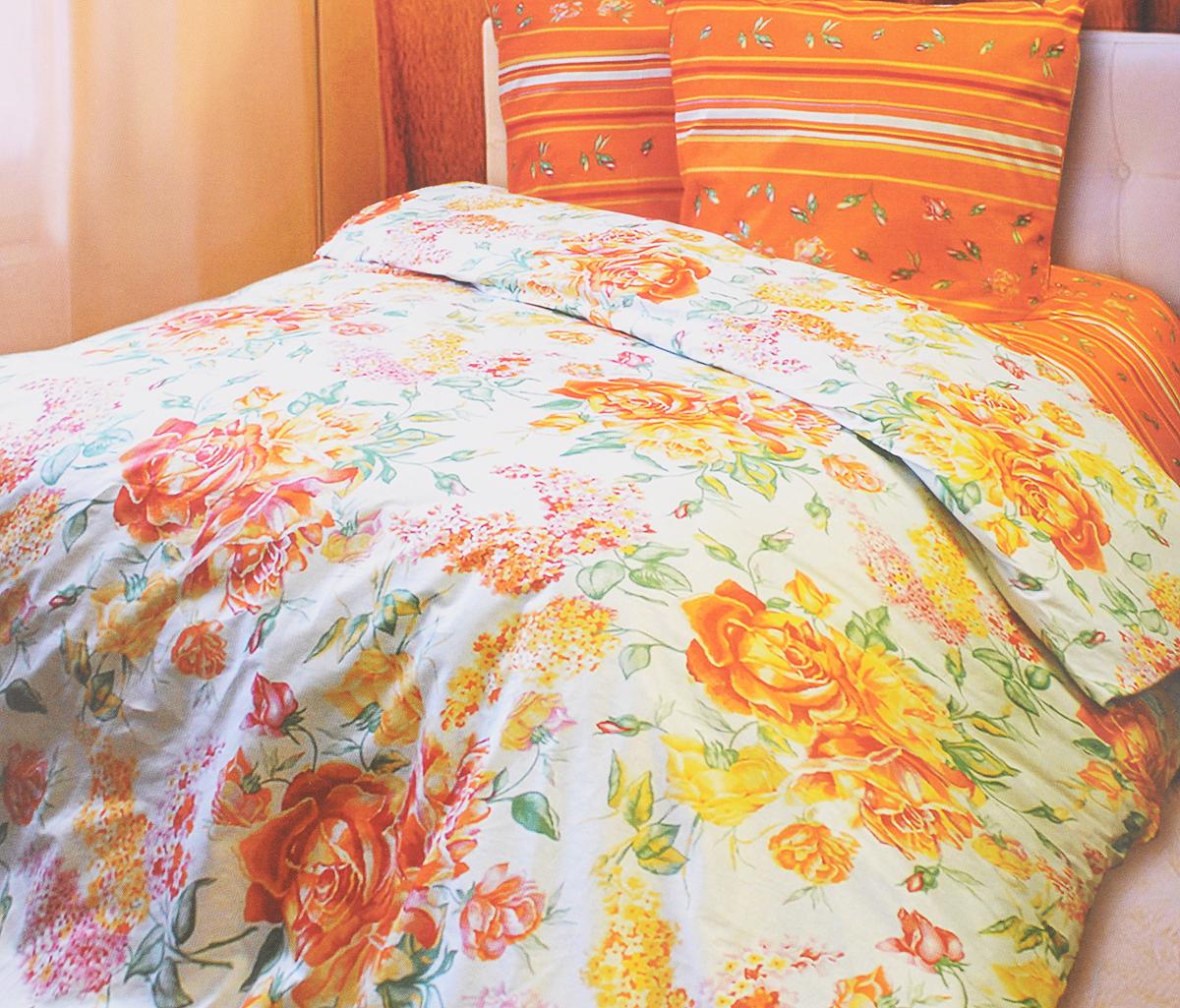 Комплект белья Катюша Сюзанна, 1,5-спальный, наволочки 50х70, цвет: белый, оранжевыйC-264/3839Комплект постельного белья Катюша Сюзанна является экологически безопасным для всей семьи, так как выполнен из бязи (100% хлопок). Комплект состоит из пододеяльника, простыни и двух наволочек. Постельное белье оформлено оригинальным рисунком и имеет изысканный внешний вид. Бязь - это ткань полотняного переплетения, изготовленная из экологически чистого и натурального 100% хлопка. Она прочная, мягкая, обладает низкой сминаемостью, легко стирается и хорошо гладится. Бязь прекрасно пропускает воздух и за ней легко ухаживать. При соблюдении рекомендуемых условий стирки, сушки и глажения ткань имеет усадку по ГОСТу, сохранятся яркость текстильных рисунков. Приобретая комплект постельного белья Катюша Сюзанна, вы можете быть уверенны в том, что покупка доставит вам и вашим близким удовольствие и подарит максимальный комфорт.