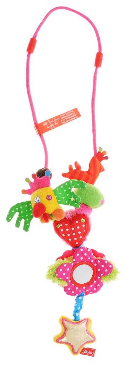 Dushi Ожерелье для мамы Я люблю тебя93100Ожерелье для мамы Dushi Я люблю тебя является полноценной игрушкой для новорожденных. Даже самый непоседливый кроха моментально увлечется игрой с нежными текстильными частями ожерелья, различными полосочками, безопасным зеркальцем и ярлычками, которые так увлекательно щупать пальчиками. Какой маме не знакома следующая ситуация: именно в тот момент, когда нужно, чтобы малыш тихо посидел на ручках, в коляске или слинге и немного подождал, он выдает бурю эмоций и не хочет более пребывать в умиротворенном состоянии ни секунды! Что обычно делает мама? Чтобы выиграть всего несколько минут, малышу вручается мамин серебряный браслет, модное ожерелье или брелок с ключами. Безусловно, решение практичное, но не идеальное и тем более не безопасное для крохи. Ожерелье разработано, прежде всего, из соображений безопасности: мягкое, без твердых частей, острых краев и бусин, которые могут оторваться. Носить данное изделие могут все: оно имеет безопасную застежку...