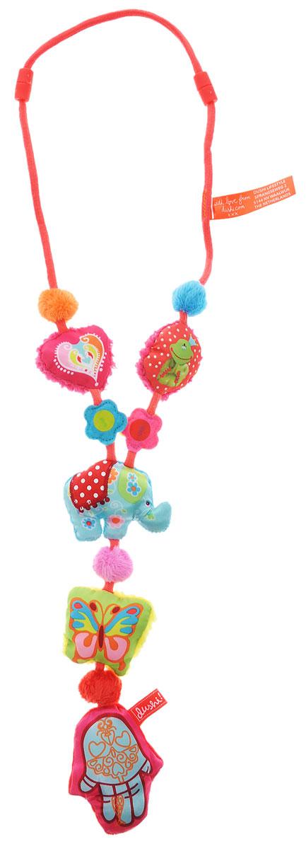 Dushi Ожерелье для мамы Индия02602Ожерелье для мамы Dushi Индия - отличное решение для любознательных ручек малыша, которые всегда тянутся к дорогим маминым украшениям или родинке на шее! Даже самый непоседливый кроха моментально увлечется игрой с нежными текстильными частями ожерелья, различными полосочками и ярлычками, которые так увлекательно щупать пальчиками. Какой маме не знакома следующая ситуация: именно в тот момент, когда нужно, чтобы малыш тихо посидел на ручках, в коляске или слинге и немного подождал, он выдает бурю эмоций и не хочет более пребывать в умиротворенном состоянии ни секунды! Что обычно делает мама? Чтобы выиграть всего несколько минут, малышу вручается мамин серебряный браслет, модное ожерелье или брелок с ключами. Безусловно, решение практичное, но не идеальное и тем более не безопасное для крохи. Ожерелье разработано, прежде всего, из соображений безопасности: мягкое, без твердых частей, острых краев и бусин, которые могут оторваться. Носить данное ...