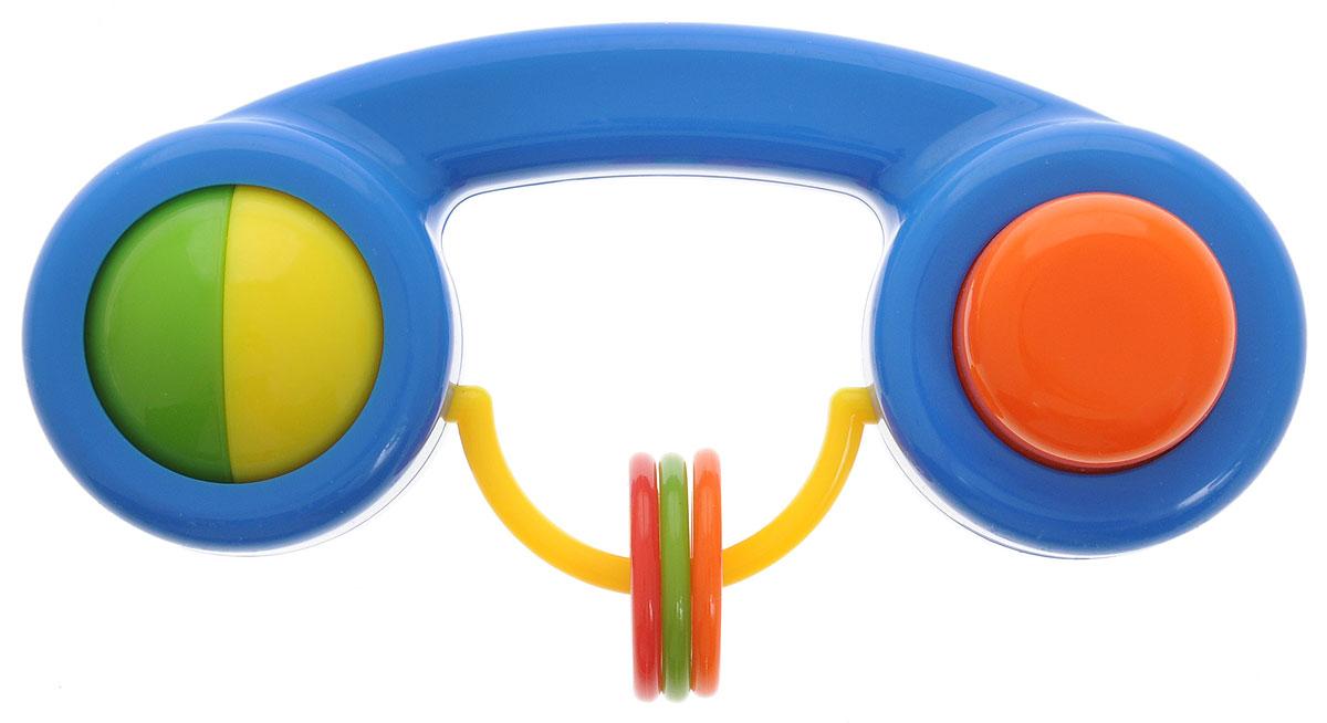Малышарики Погремушка Телефон цвет синийMSH0302-006Яркая и красочная погремушка Малышарики Телефон обязательно привлечет внимание малыша и поможет ему начать познавать мир, развивая необходимые в будущем навыки и способности. Погремушка выполнена из безопасных материалов в виде телефонной трубки. На дуге в центре погремушки расположены 3 разноцветные колечка, которые, сталкиваясь, негромко звенят. Также погремушка дополнена большой кнопкой и вращающейся двухцветной сферой. Забавная погремушка поможет малышу научиться фокусировать внимание, держать предметы, различать звуки, а также познакомит с формами и цветами. С первых месяцев жизни малыш начинает интересоваться яркими, подвижными предметами, ведь они являются его главными помощниками в изучении удивительного мира. Погремушка развивает мелкую моторику и слуховое восприятие.