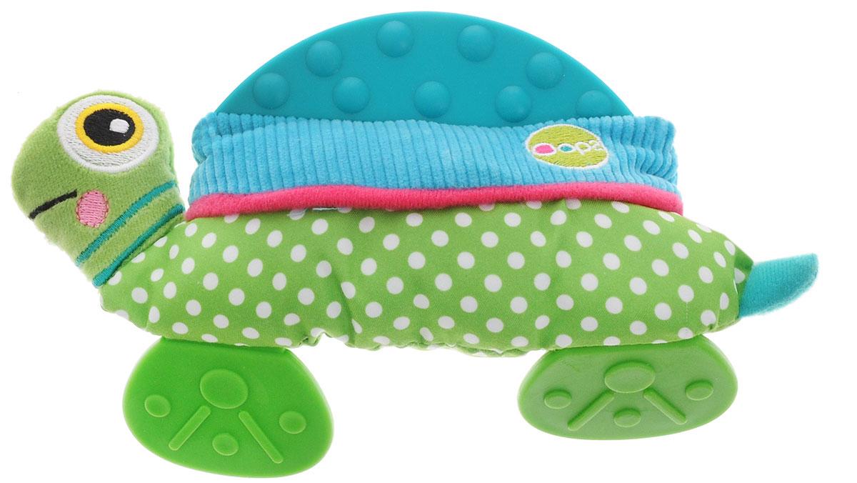Oops Развивающая игрушка-прорезыватель ЧерепахаO 13002.00_черепахаРазвивающая игрушка-прорезыватель Oops Черепаха не оставит равнодушным ни одного малыша. Выполненная из разнофактурных материалов, игрушка служит не только прекрасным средством при прорезывании зубов, но и помогает развивать цветовое и слуховое восприятие, тактильную чувствительность и моторику. Животик черепашки шелестит при надавливании. При встряхивании гремит встроенная погремушка. Внизу игрушки и сверху находятся прорезыватели. Забавная игрушка станет для малыша отличным компаньоном в играх и обязательно поднимет настроение.