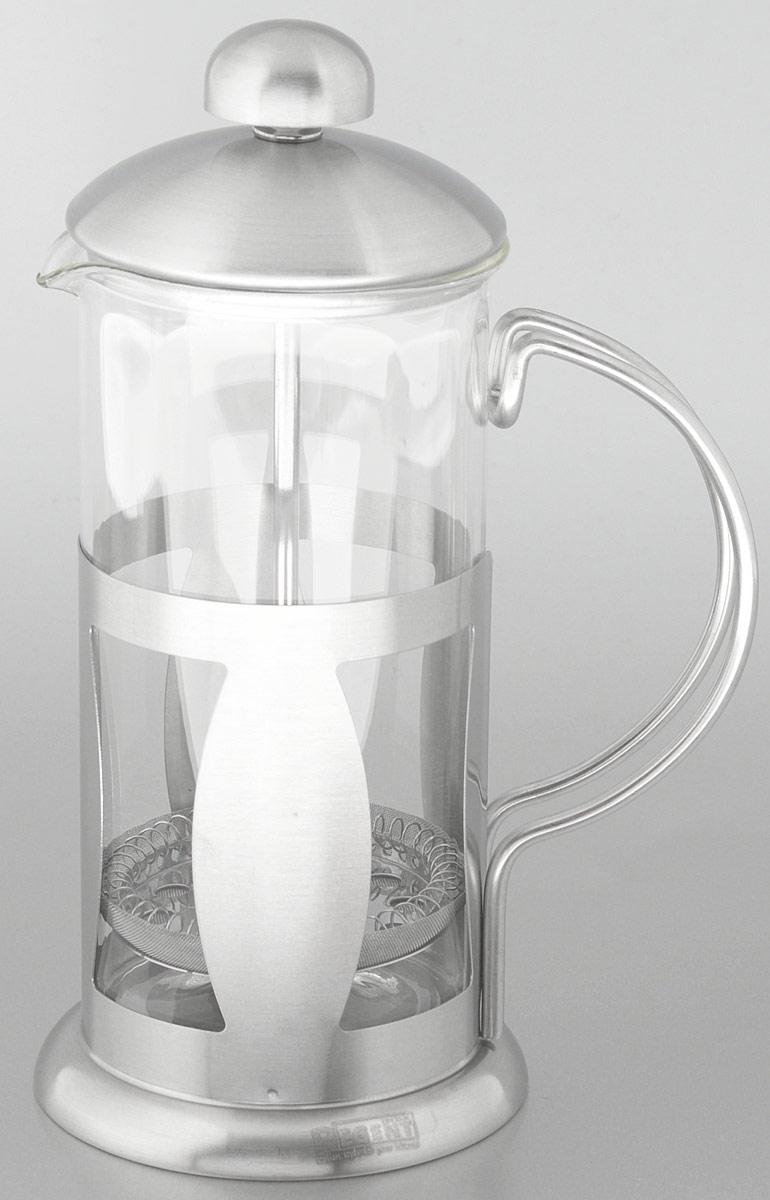 Френч-пресс Regent Inox Franco, 0,35 л93-FR-09-01-350Френч-пресс Regent Inox Franco изготовлен из высококачественной нержавеющей стали и жаропрочного стекла. Фильтр-поршень из нержавеющей стали выполнен по технологии press-up для обеспечения равномерной циркуляции воды. Засыпая чайную заварку или кофе под фильтр, заливая горячей водой, вы получаете ароматный напиток с оптимальной крепостью и насыщенностью. Остановить процесс заваривания легко, для этого нужно просто опустить поршень, и все уйдет вниз, оставляя вверху напиток, готовый к употреблению. Френч-пресс Regent Inox Franco позволит быстро и просто приготовить свежий и ароматный кофе или чай.