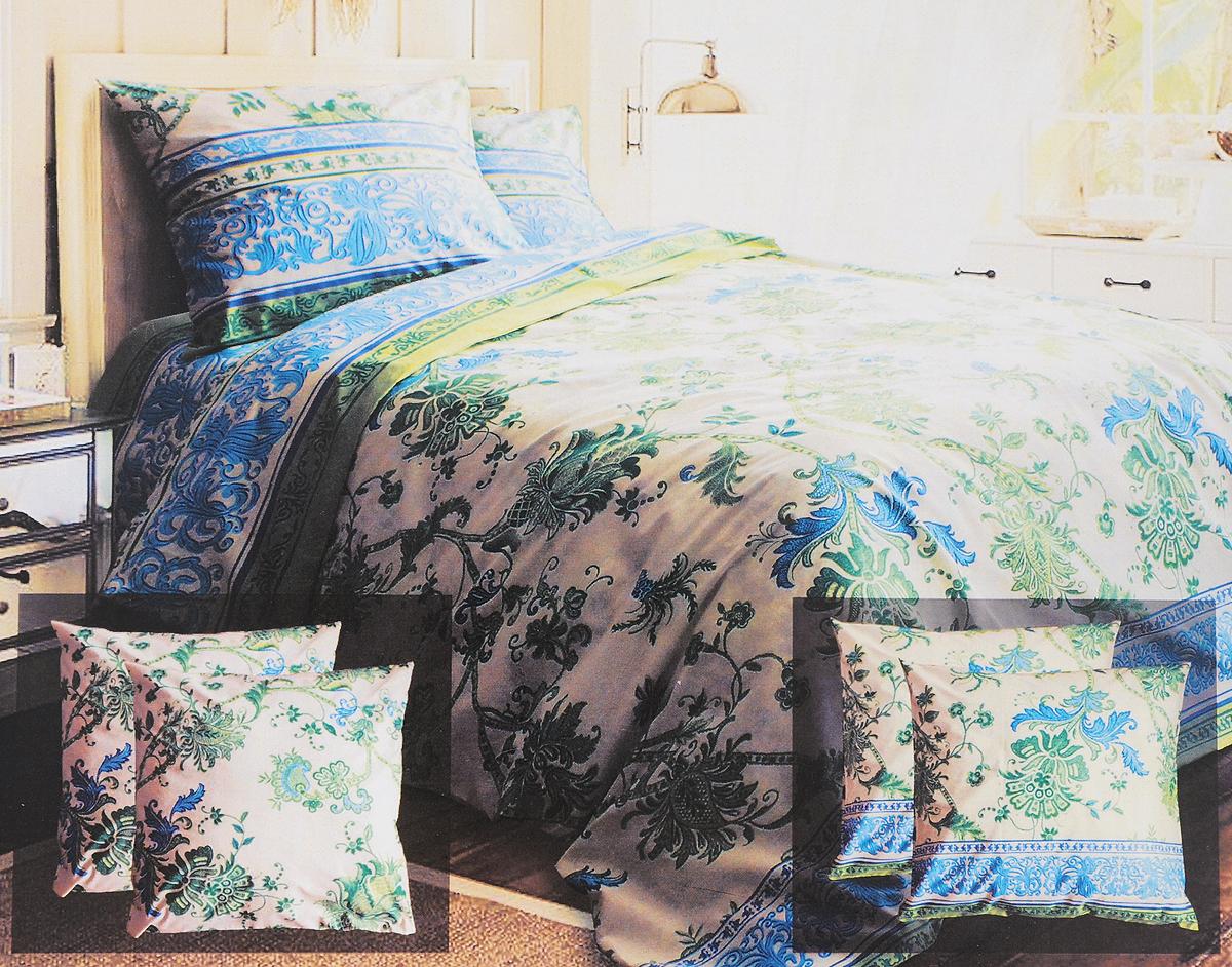 Комплект белья Блакiт Золотое шитье, семейный, наволочки 50х70, цвет: светло-желтый, зеленый, голубой35174420Комплект постельного белья Блакiт Золотое шитье является экологически безопасным для всей семьи, так как выполнен из бязи (100% хлопок). Комплект состоит из двух пододеяльников, простыни и двух наволочек. Постельное белье оформлено оригинальным рисунком и имеет изысканный внешний вид. Бязь - это ткань полотняного переплетения, изготовленная из экологически чистого и натурального 100% хлопка. Она прочная, мягкая, обладает низкой сминаемостью, легко стирается и хорошо гладится. Бязь прекрасно пропускает воздух и за ней легко ухаживать. При соблюдении рекомендуемых условий стирки, сушки и глажения ткань имеет усадку по ГОСТу, сохранятся яркость текстильных рисунков. Приобретая комплект постельного белья Блакiт Золотое шитье, вы можете быть уверенны в том, что покупка доставит вам и вашим близким удовольствие и подарит максимальный комфорт.