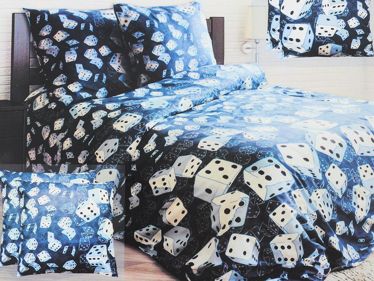 Комплект белья Блакiт Шанс, семейный, наволочки 50х70, цвет: белый, синий, черный35174441Комплект постельного белья Блакiт Шанс является экологически безопасным для всей семьи, так как выполнен из бязи (100% хлопок). Комплект состоит из двух пододеяльников, простыни и двух наволочек. Постельное белье оформлено оригинальным рисунком и имеет изысканный внешний вид. Бязь - это ткань полотняного переплетения, изготовленная из экологически чистого и натурального 100% хлопка. Она прочная, мягкая, обладает низкой сминаемостью, легко стирается и хорошо гладится. Бязь прекрасно пропускает воздух и за ней легко ухаживать. При соблюдении рекомендуемых условий стирки, сушки и глажения ткань имеет усадку по ГОСТу, сохранятся яркость текстильных рисунков. Приобретая комплект постельного белья Блакiт Шанс, вы можете быть уверенны в том, что покупка доставит вам и вашим близким удовольствие и подарит максимальный комфорт.