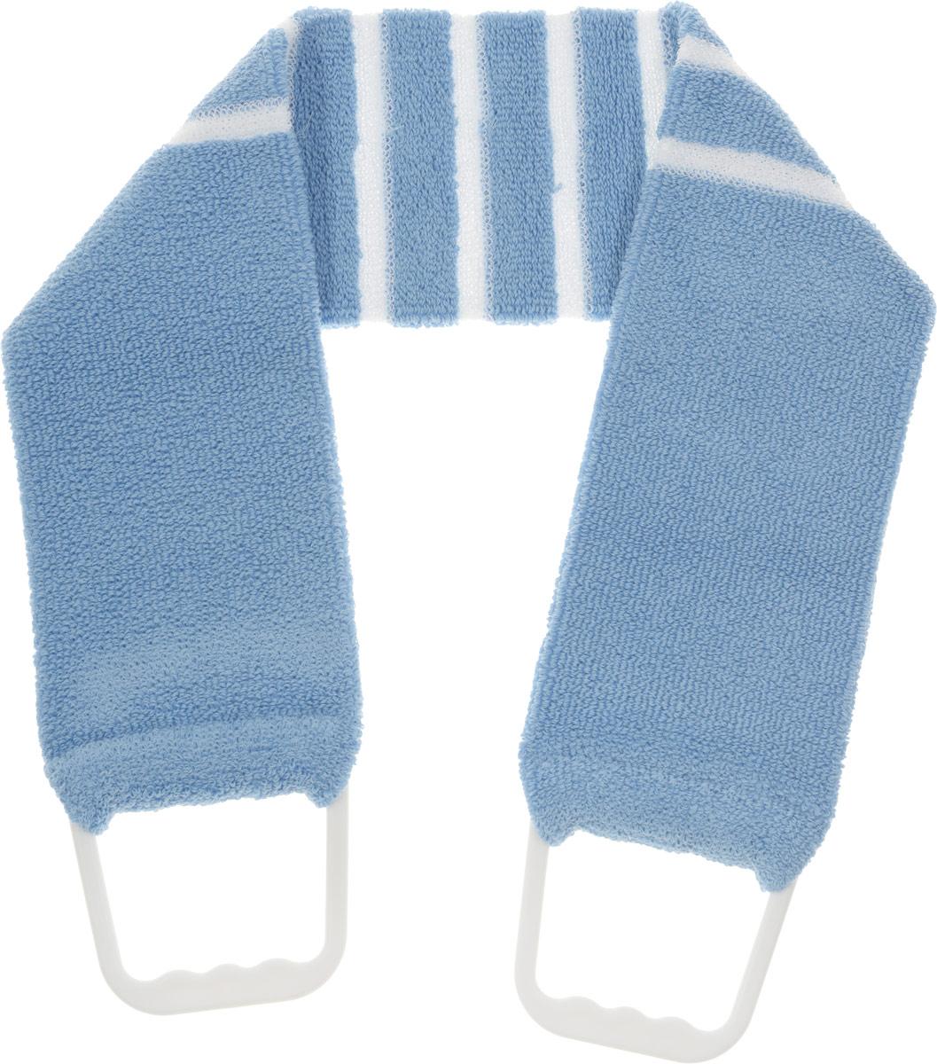 Мочалка-пояс Riffi, мягкая, с массажными полосками, цвет: голубой426_голубой