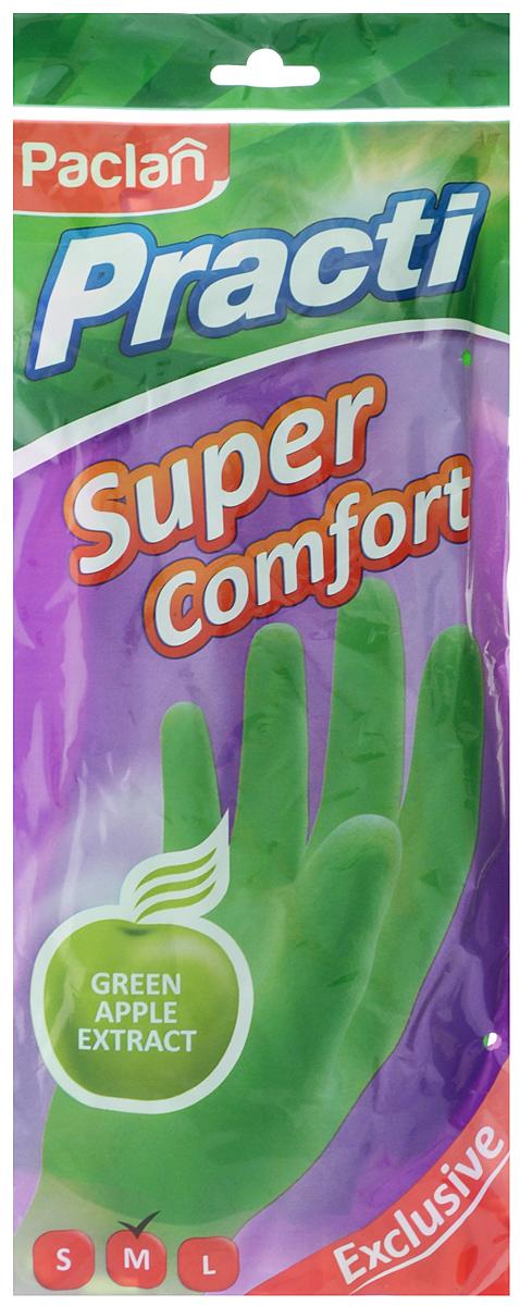 Перчатки хозяйственные Paclan Practi Super Comfort, латексные, с ароматом яблока, цвет: зеленый. Размер M407150_M_зеленыйЛатексные перчатки Paclan Practi Super Comfort с удлиненным манжетом предназначены для защиты рук при выполнении различных видов домашних работ: мытья посуды, уборки дома, хозяйственных работ в саду, ремонтных работ. Они эффективно защищают кожу от воздействия моющих средств, бытовой химии, механических повреждений. Изделие обладает рифленой поверхностью рабочих частей, которая позволяет удерживать мокрые предметы. Внутреннее напыление из хлопка обладает противовоспалительным действием и снижает вероятность возникновения аллергических реакций.