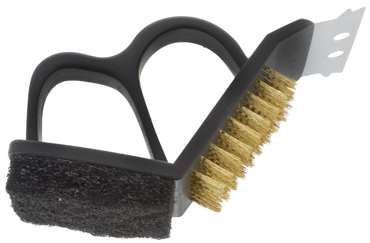 Щетка для чистки гриля Мультидом, 15 х 7 х 10,5 смAN84-92Щетка для чистки гриля Мультидом, выполненная из пластика, предназначена для чистки мангалов, барбекю, решеток гриль, шампуров и других металлических поверхностей. Жесткая щетка, абразивная нейлоновая губка и стальной скребок эффективно удаляют остатки пригоревшей пищи. Благодаря своей эргономичной конструкции щетка способна вычищать мелкий сор и грязь даже из труднодоступных мест. Такая щетка - незаменимый предмет для любителей барбекю, гриля и шашлыков. Размер рабочей части щетки: 4,5 х 5,5 см. Длина щетины: 2 см. Размер губки: 6,2 х 6 х 1 см. Ширина скребка: 7,2 см.