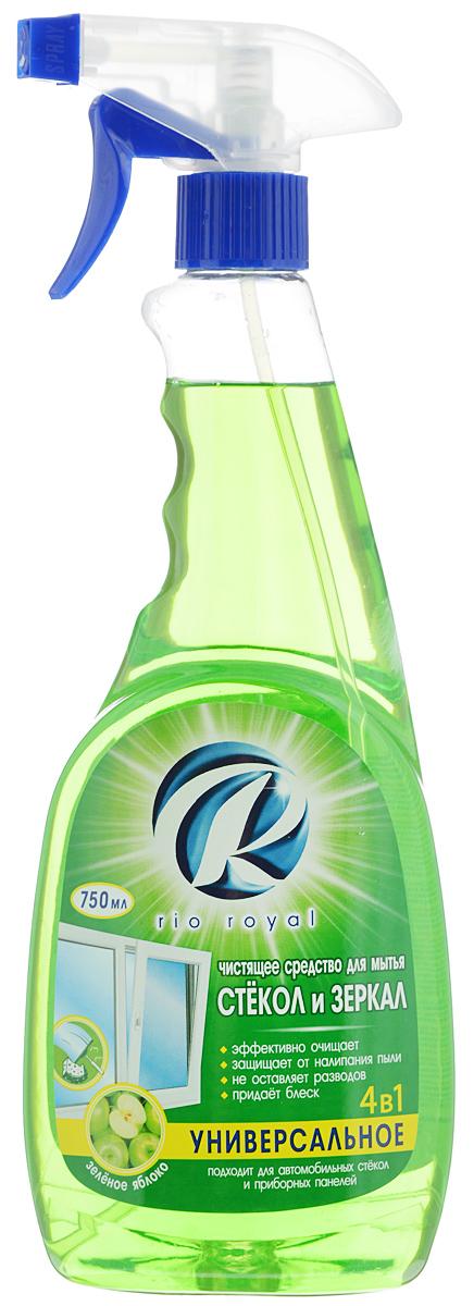 Средство для мытья стекол и зеркал Rio Royal, зеленое яблоко, 750 мл46334Средство Rio Royal предназначено для мытья стекол, зеркал и других изделий из стекла. Эффективно смывает грязь, пыль, следы рук и прочие загрязнения. Средство не оставляет разводов и следов, защищает от налипания пыли и придает поверхности блеск. Подходит для мытья автомобильных стекол. Товар сертифицирован.