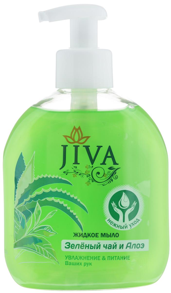 Мыло жидкое JIVA Зелёный Чай и Алое, 300 мл с дозатором