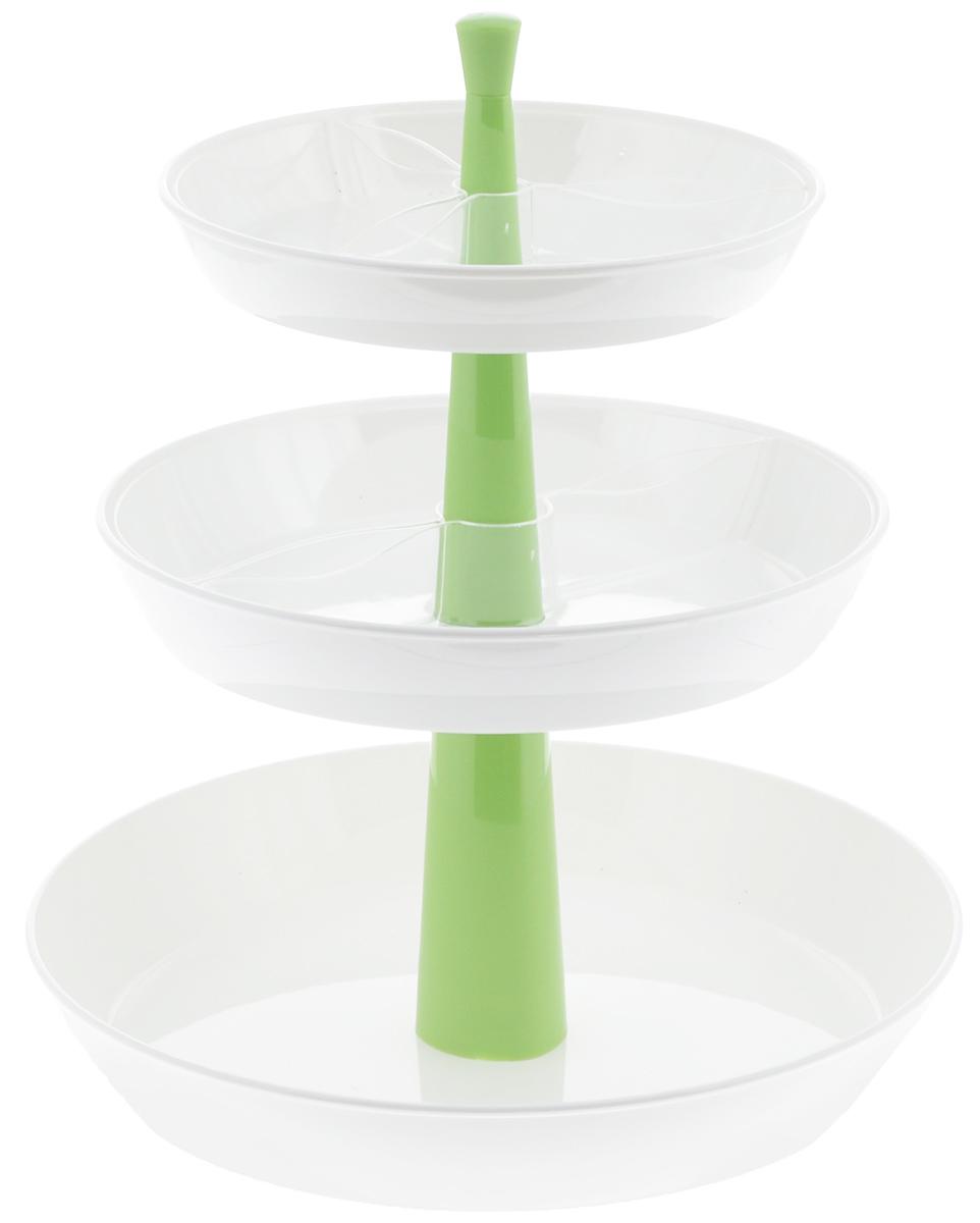 Этажерка для закусок Tescoma Presto, глубокая, трехъярусная, цвет: белый, зеленый, высота 30 см420719_зеленыйТрехъярусная этажерка Tescoma Presto идеально подходит для стильной сервировки чипсов, орешков, печенья, конфет, фруктов, ягод и т.д. Изготовлена из высококачественного прочного пластика. Состоит из трех глубоких пластиковых блюд. Прозрачные съемные миски помогут красиво разложить большое количество закусок и при этом не смешивать их. Этажерку легко собрать и разобрать, она удобна для хранения. Блюда пригодны для мытья в посудомоечной машине, раскладной центральный стержень мыть в посудомоечной машине нельзя. Высота этажерки: 30 см. Диаметр блюд: 17,5 см, 21 см, 26 см. Высота стенок блюд: 4 см.