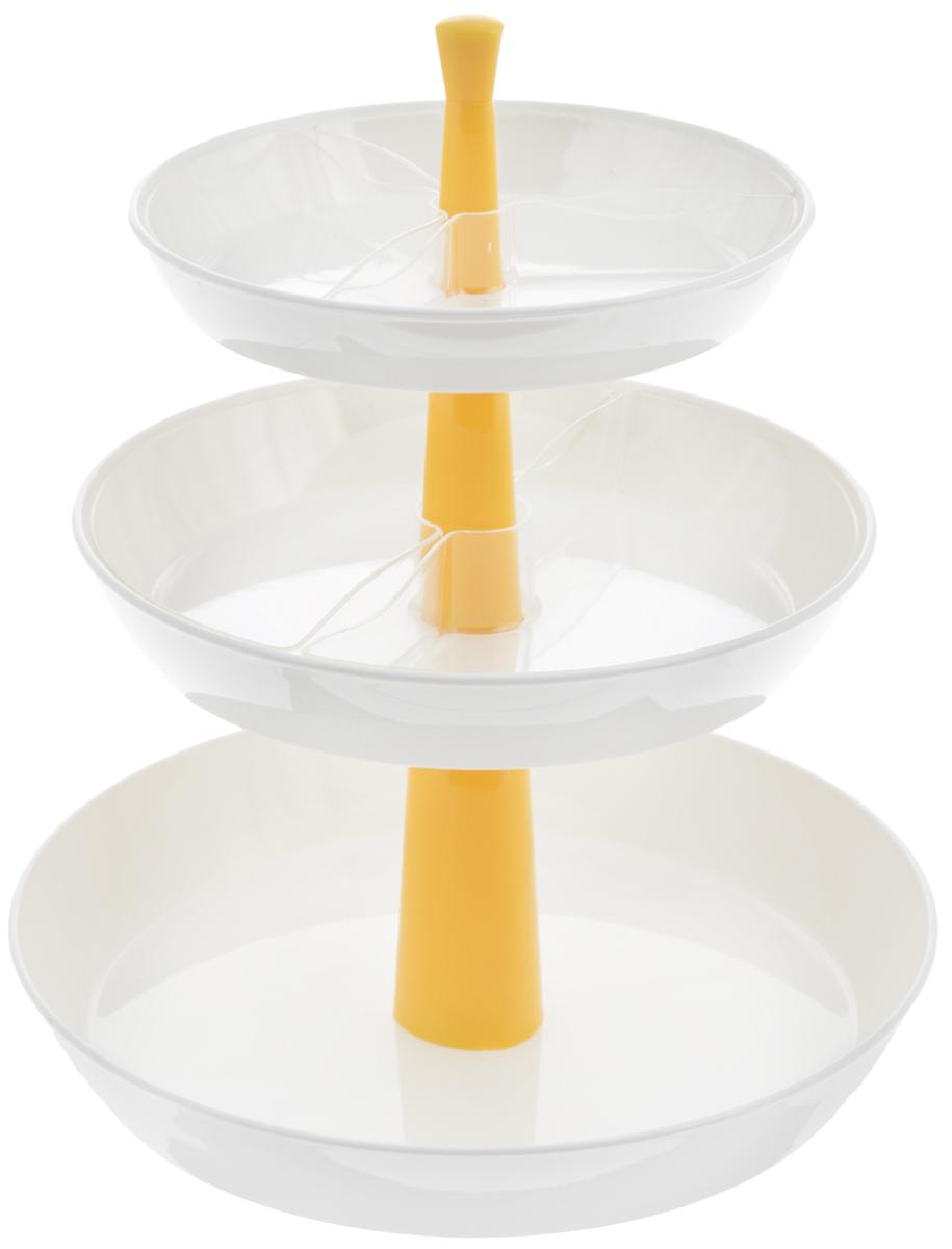 Этажерка для закусок Tescoma Presto, глубокая, трехъярусная, цвет: белый, желтый, высота 30 см420719_желтыйТрехъярусная этажерка Tescoma Presto идеально подходит для стильной сервировки чипсов, орешков, печенья, конфет, фруктов, ягод и т.д. Изготовлена из высококачественного прочного пластика. Состоит из трех глубоких пластиковых блюд. Прозрачные съемные миски помогут красиво разложить большое количество закусок и при этом не смешивать их. Этажерку легко собрать и разобрать, она удобна для хранения. Блюда пригодны для мытья в посудомоечной машине, раскладной центральный стержень мыть в посудомоечной машине нельзя. Высота этажерки: 30 см. Диаметр блюд: 17,5 см, 21 см, 26 см. Высота стенок блюд: 4 см.