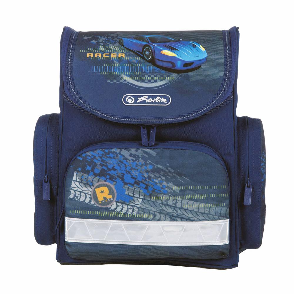 Herlitz Ранец школьный Blue Racer11408259Школьный ранец Herlitz Blue Racer выполнен из легкого и прочного материала. Ранец имеет одно основное отделение, закрывающееся на молнию с двумя бегунками. Клапан полностью откидывается, что существенно облегчает пользование ранцем. На внутренней части клапана находится прозрачный пластиковый кармашек, в который можно поместить данные о владельце ранца. Внутри главного отделения расположена мягкая перегородка для тетрадей или учебников. На лицевой стороне ранца расположен накладной карман на застежке- молнии. По бокам ранца размещены два накладных кармана на молнии. Ортопедическая спинка, созданная по специальной технологии из дышащего материала, равномерно распределяет нагрузку на плечевые суставы и спину. В нижней части спинки расположен поясничный упор - небольшой валик, на который при правильном ношении ранца будет приходиться основная нагрузка. Изделие оснащено удобной ручкой для переноски в руке и двумя широкими лямками, регулируемой...