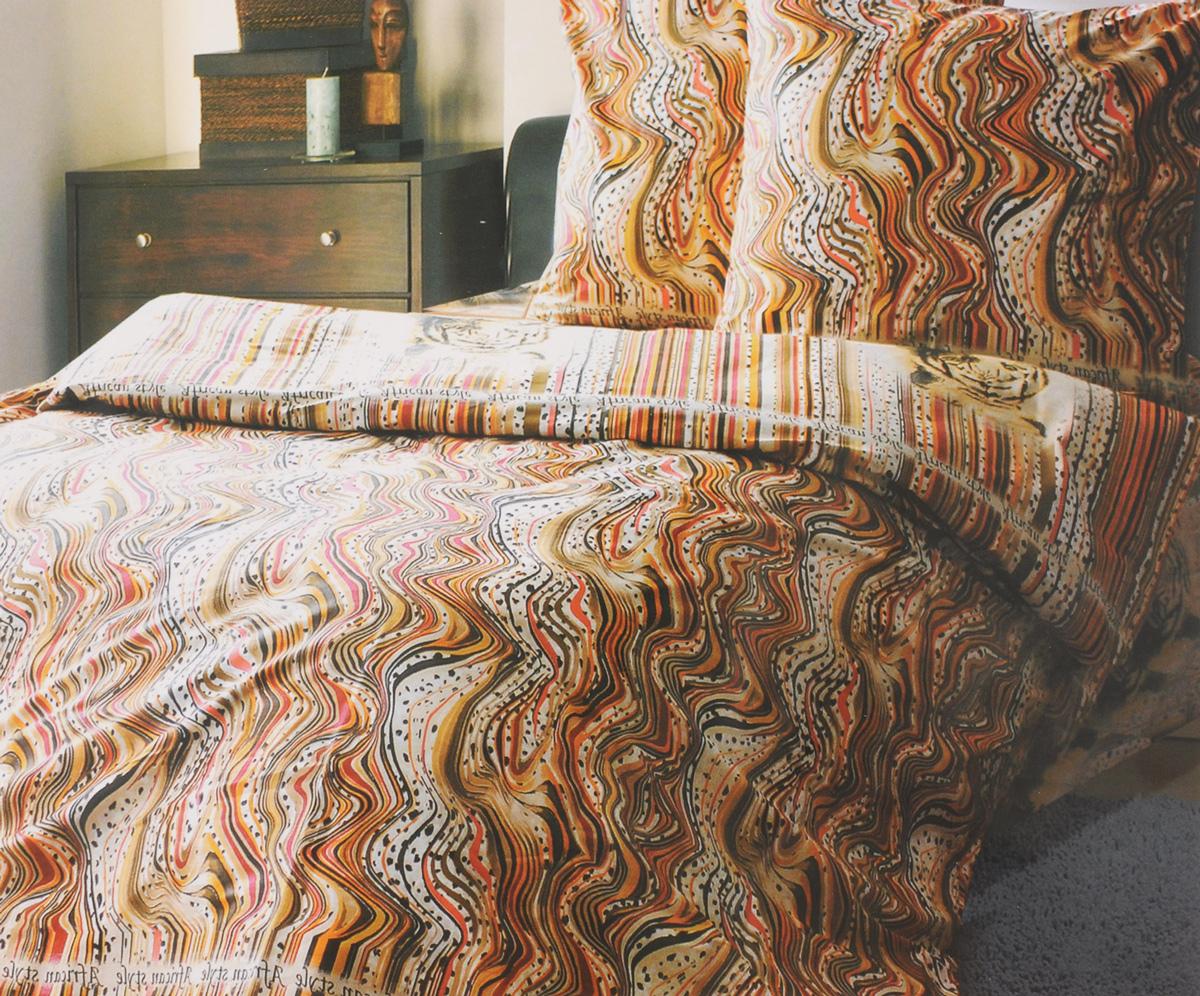 Комплект белья Катюша Африканский стиль, 1,5-спальный, наволочки 50х70, цвет: светло-коричневый, оранжевый, белыйC-264/4331