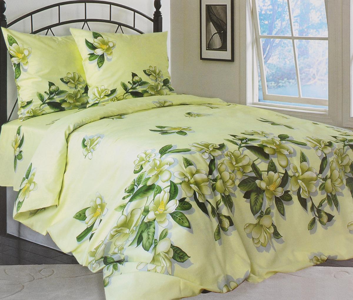 Комплект белья Катюша Юнона, 1,5-спальный, наволочки 50х70, цвет: зеленый, серый, желтыйC-264/4553Роскошный комплект белья Катюша Юнона, выполненный из бязи (100% натурального хлопка), состоит из пододеяльника, простыни и двух наволочек. Постельное белье оформлено изображением цветов и имеет изысканный внешний вид. Бязь - это ткань полотняного переплетения, изготовленная из экологически чистого и натурального 100% хлопка. Она приятная на ощупь, при этом очень прочная, хорошо сохраняет форму и легко гладится. Ткань прекрасно пропускает воздух и за ней легко ухаживать. Приобретая комплект постельного белья Катюша Юнона, вы можете быть уверенны в том, что покупка доставит вам и вашим близким удовольствие и подарит максимальный комфорт.